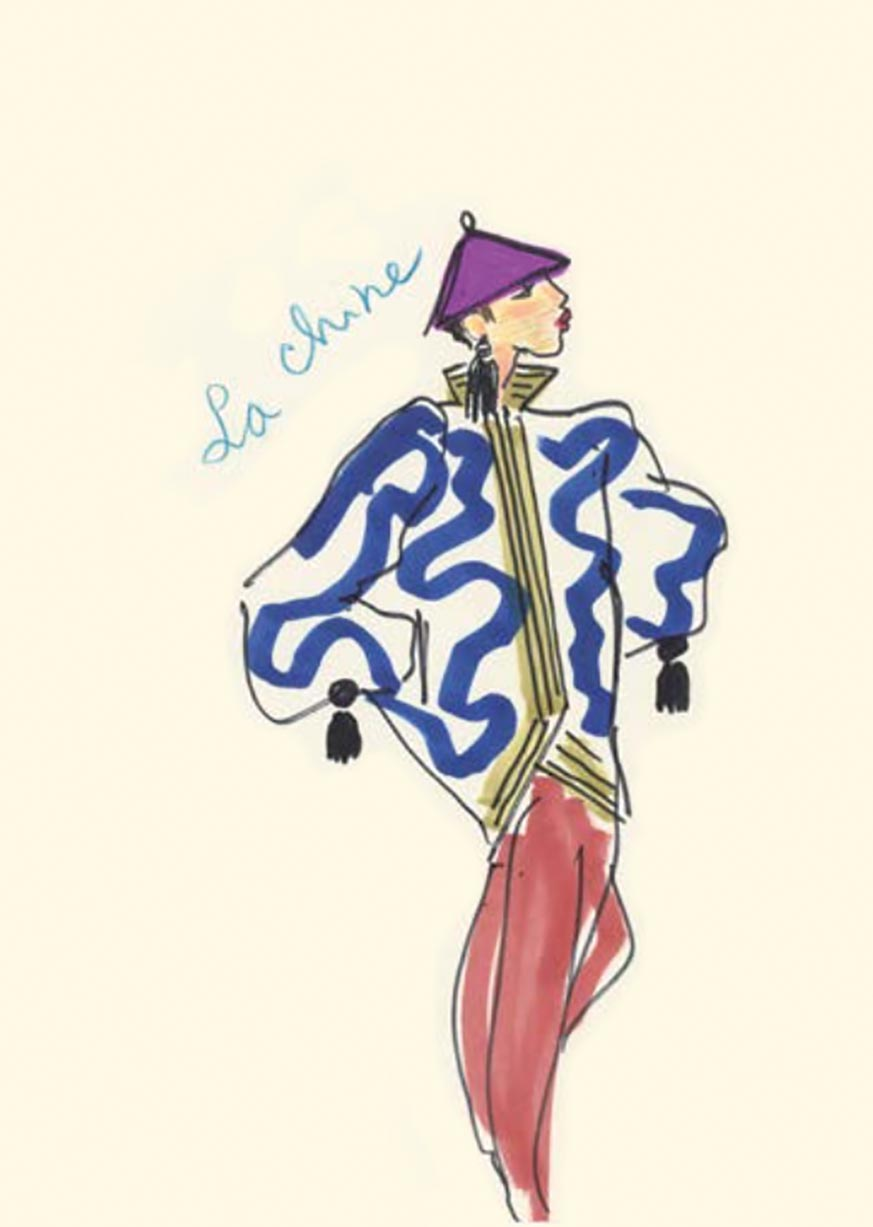 Yves Saint Laurent illustration sketches inspired by Asia