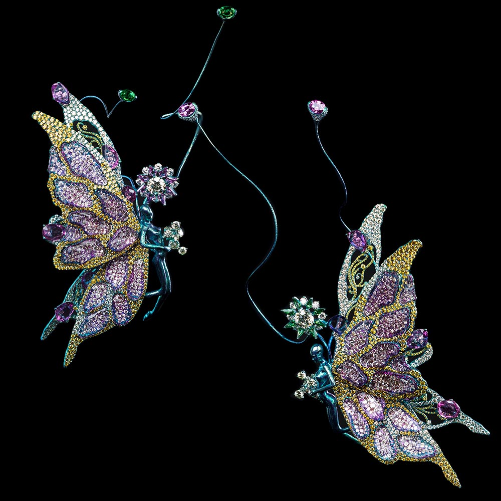 Pair of Brooches: Butterfly Nebula