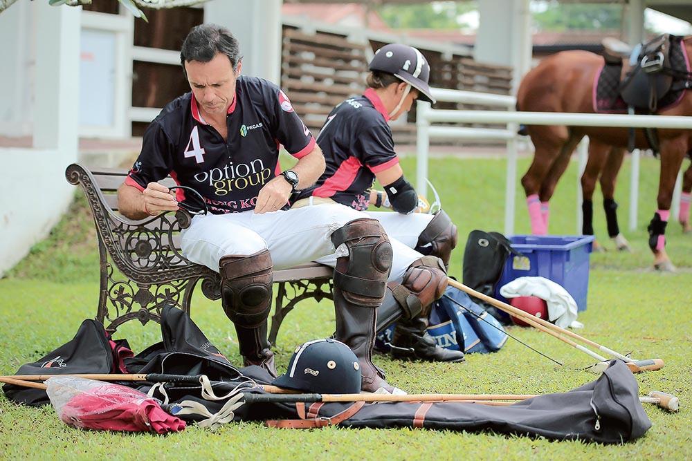 Team captain Patrick Furlong prepares for a match