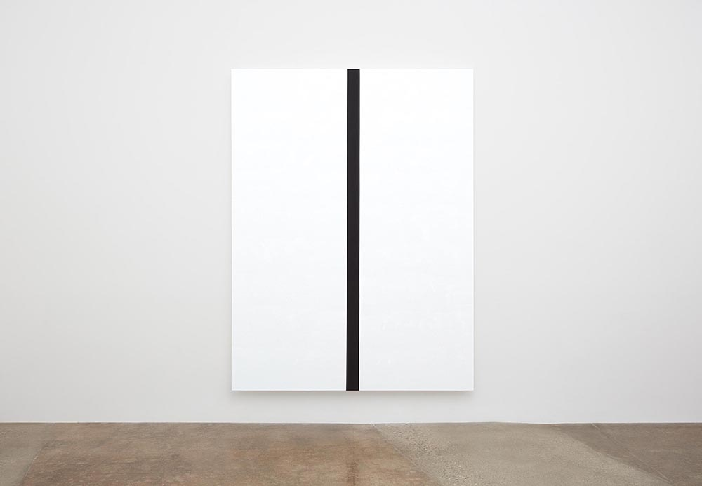Mary Corse,  Untitled (White, Black Band (Narrow), Beveled) , 2019, glass microspheres in acrylic on canvas, 243.8cm x 182.9cm