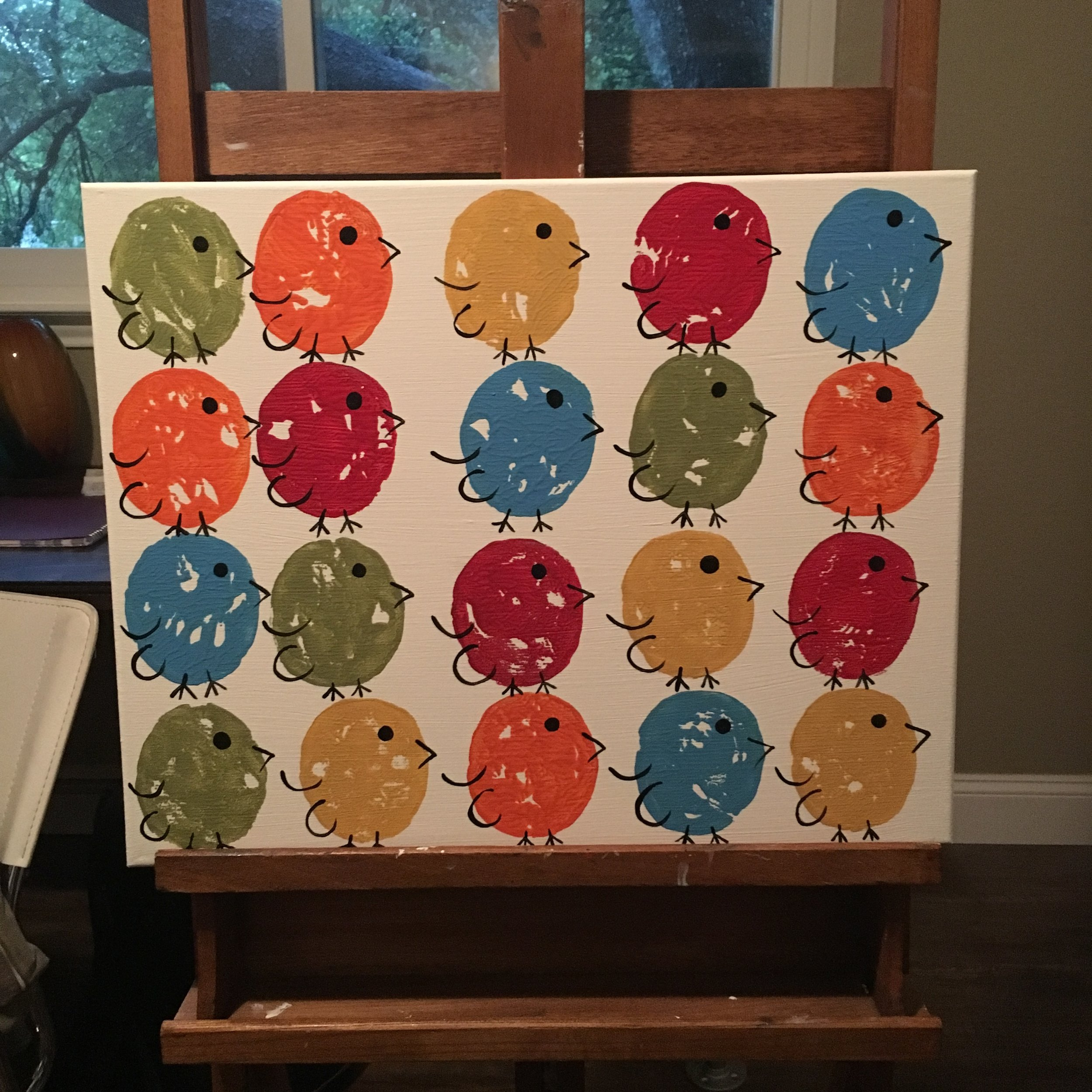 16x20 Repeat Colorful Birds - $50
