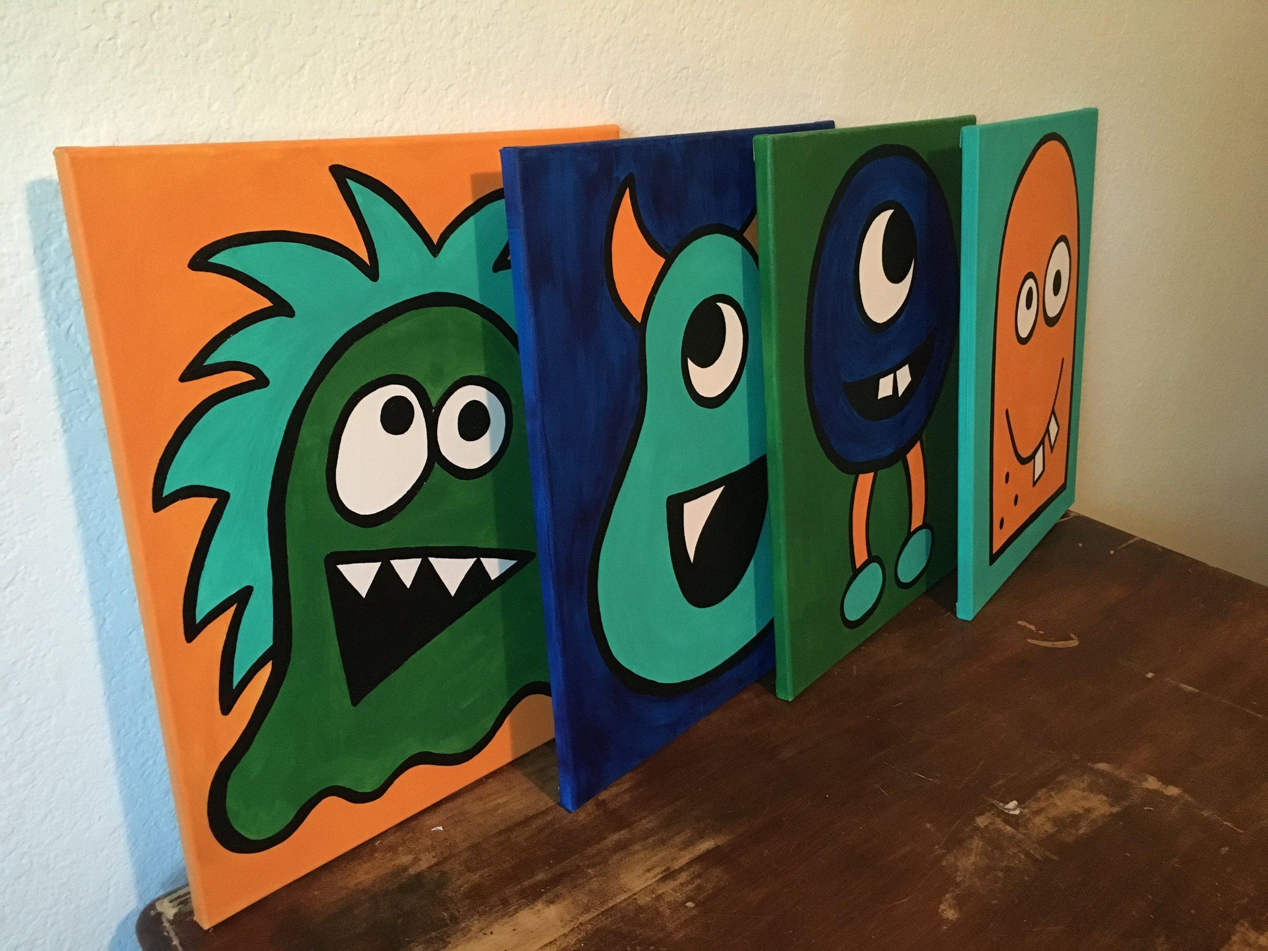 16x20 Kids Monster Set - $150