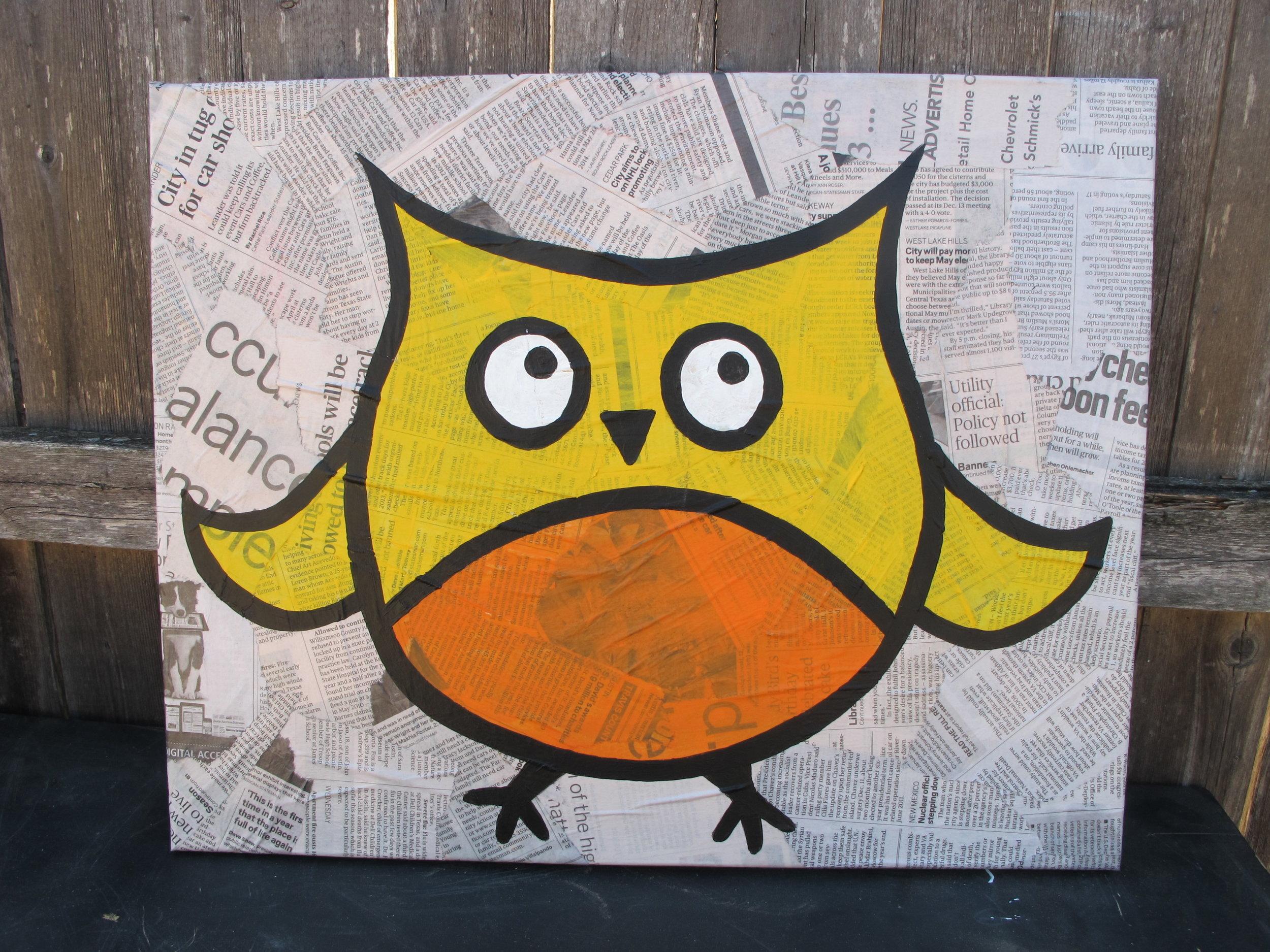 16x20 Owl on Newspaper - $50