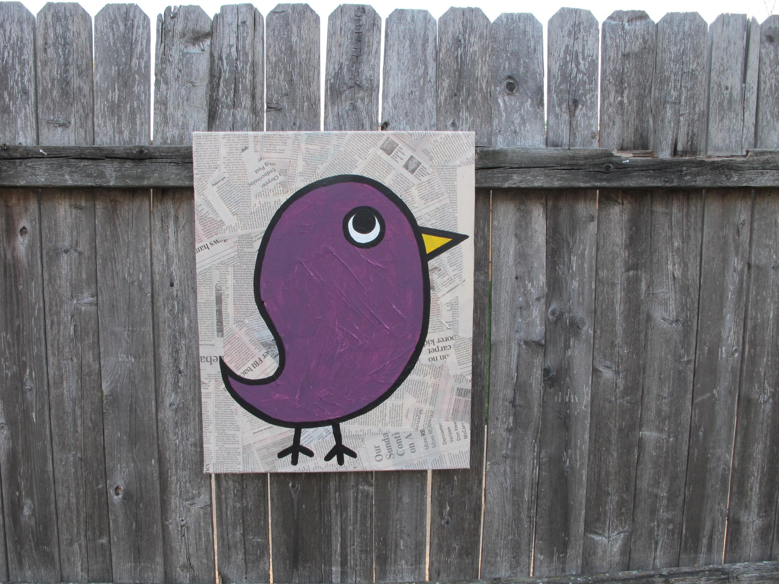 16x20 Bird on Newspaper - $50