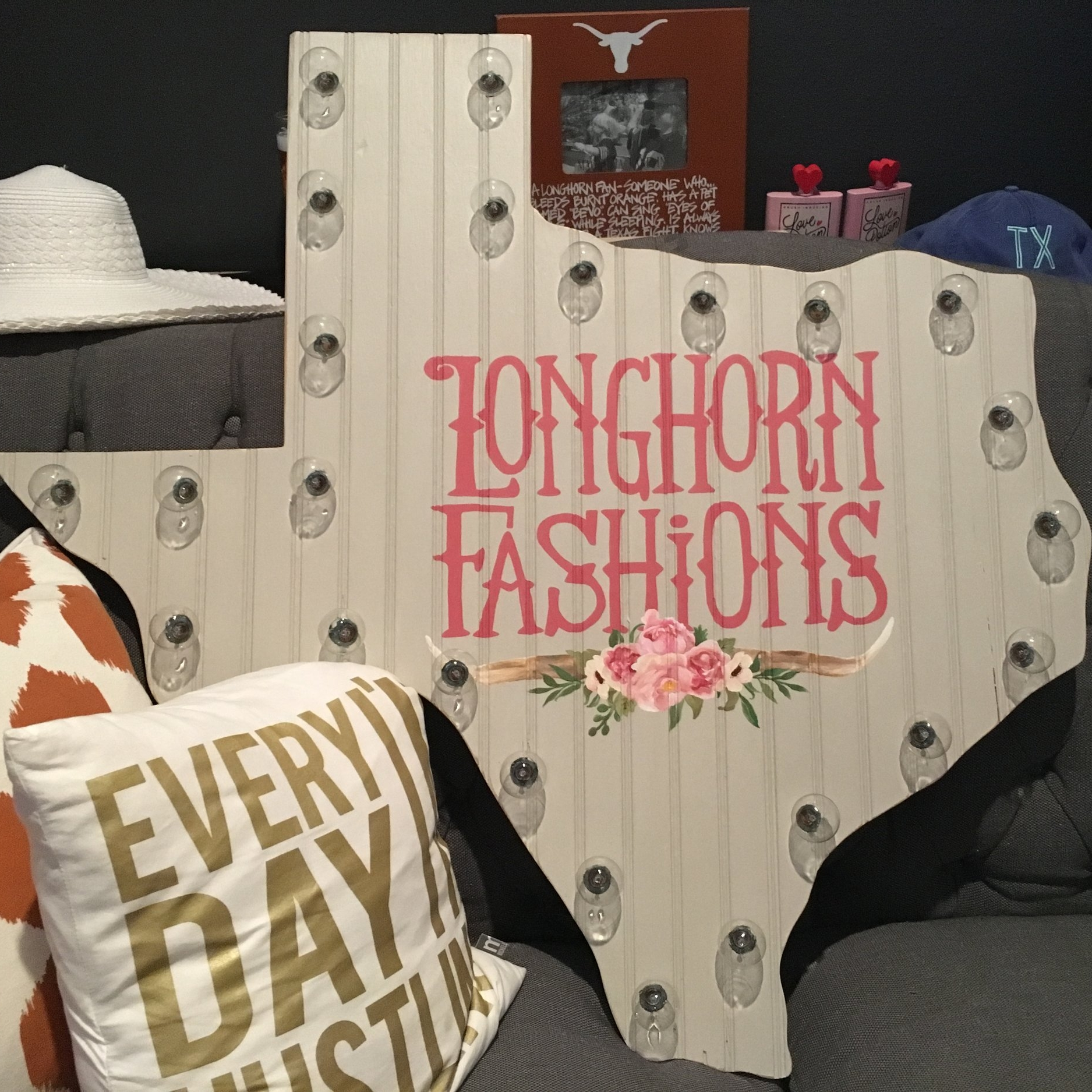 Kitsy Co Creative Consulting and Visual Branding_Longhorn Fashion Wood Business Art Sign