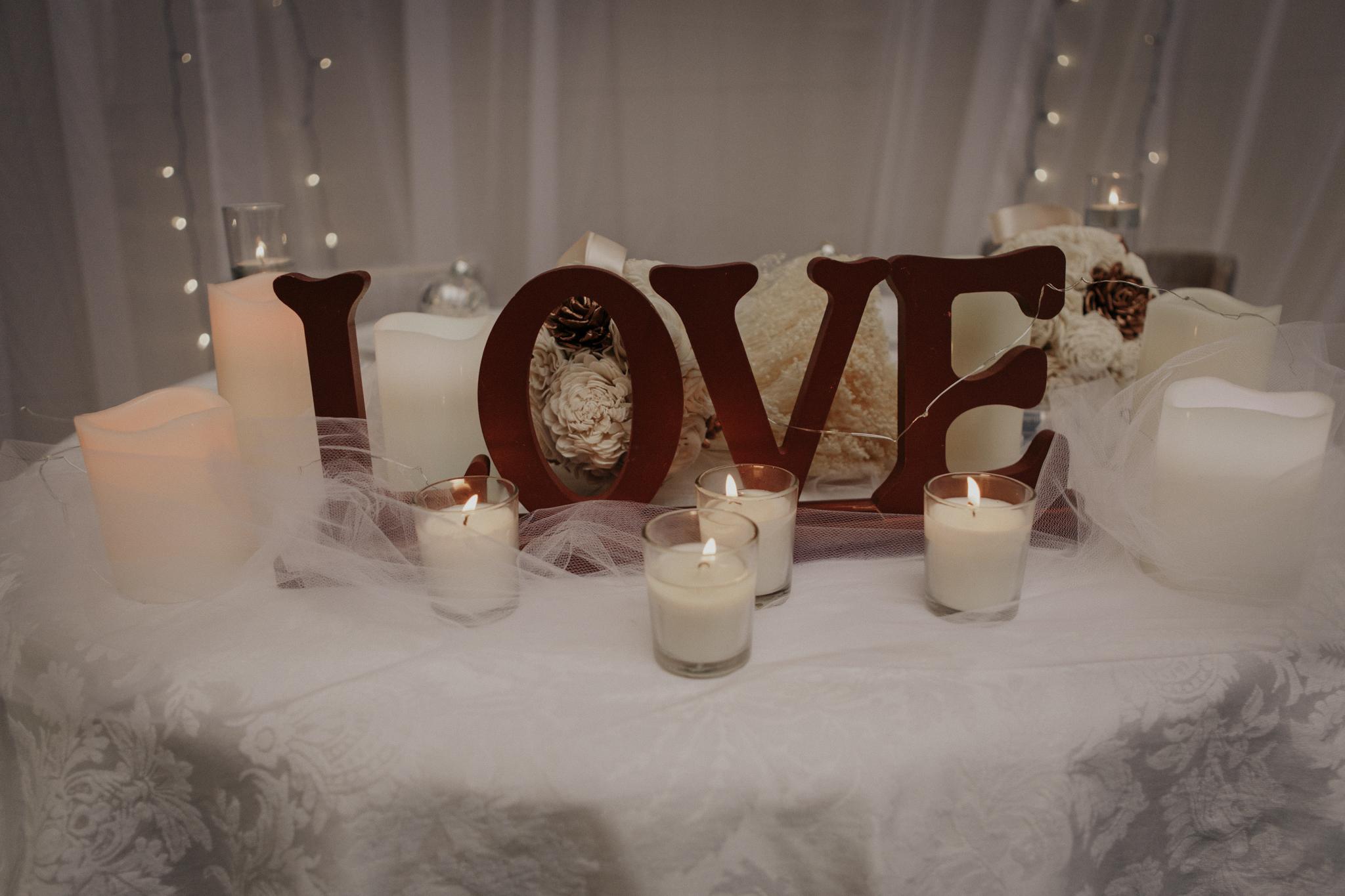 Sweetheart table for a backyard wedding
