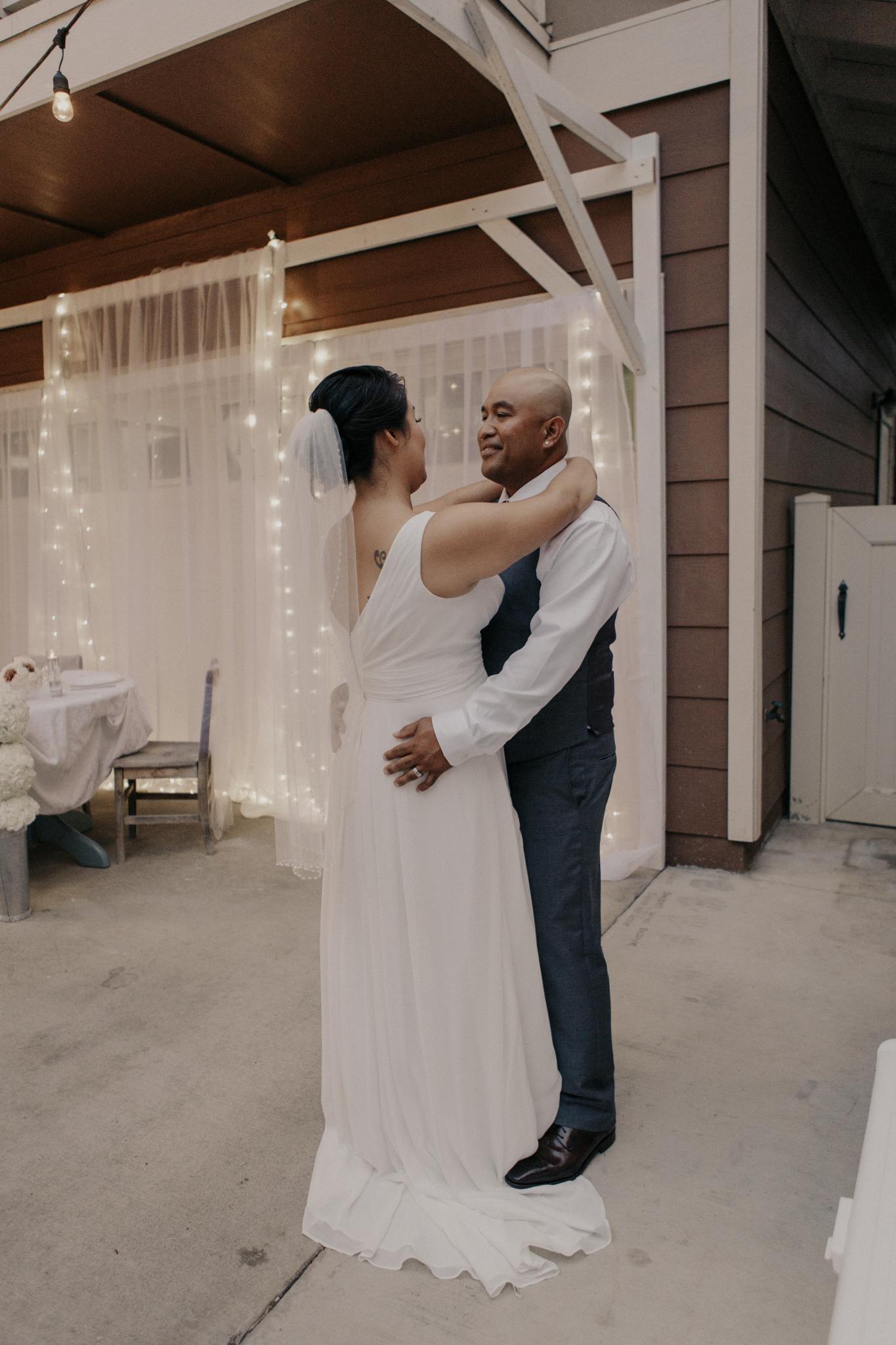 Garage wedding first dance
