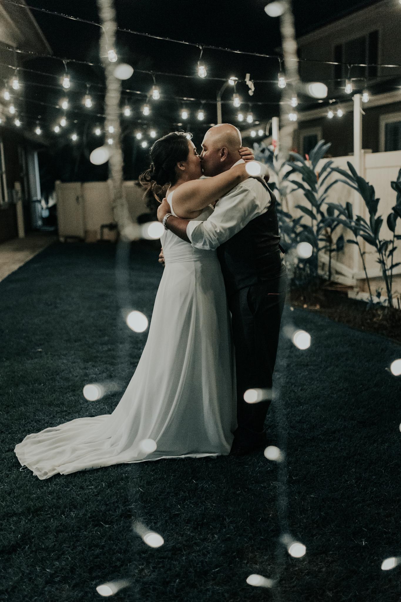 First dance at a backyard wedding
