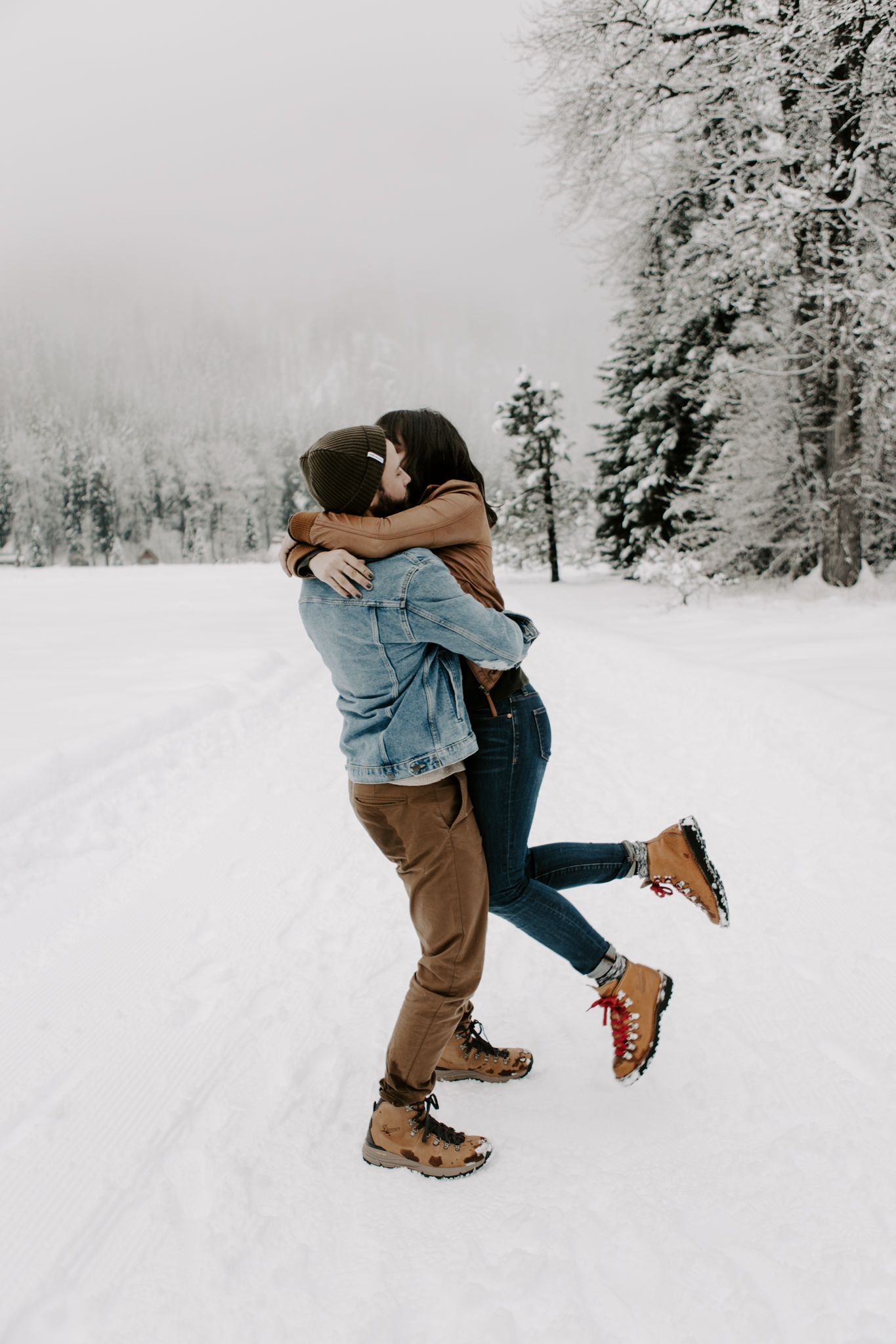 Playful couple in the North Cascade Mountains