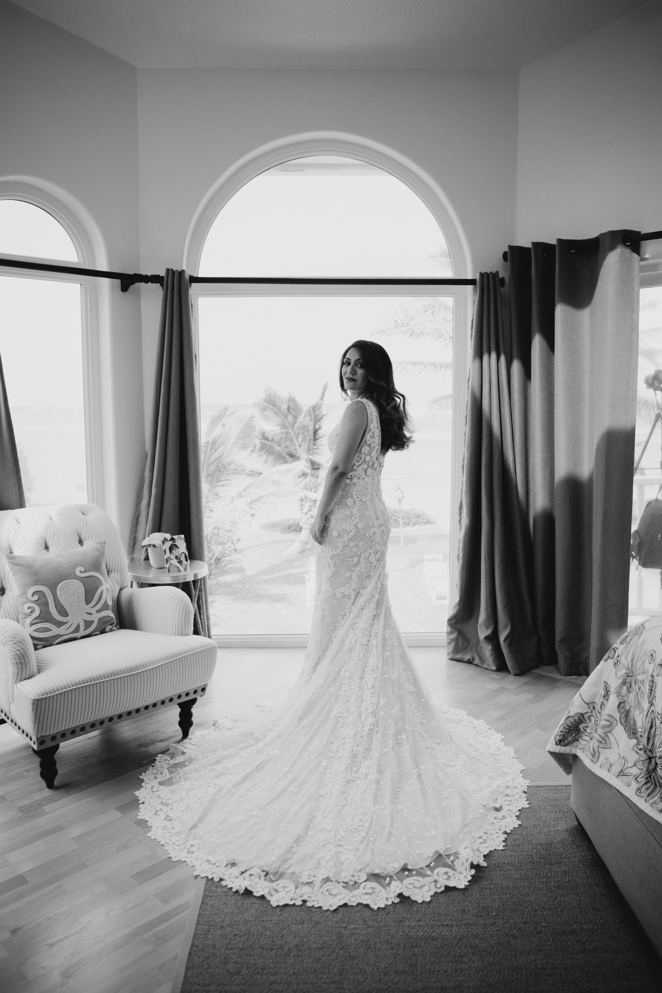 Black and white bride portrait