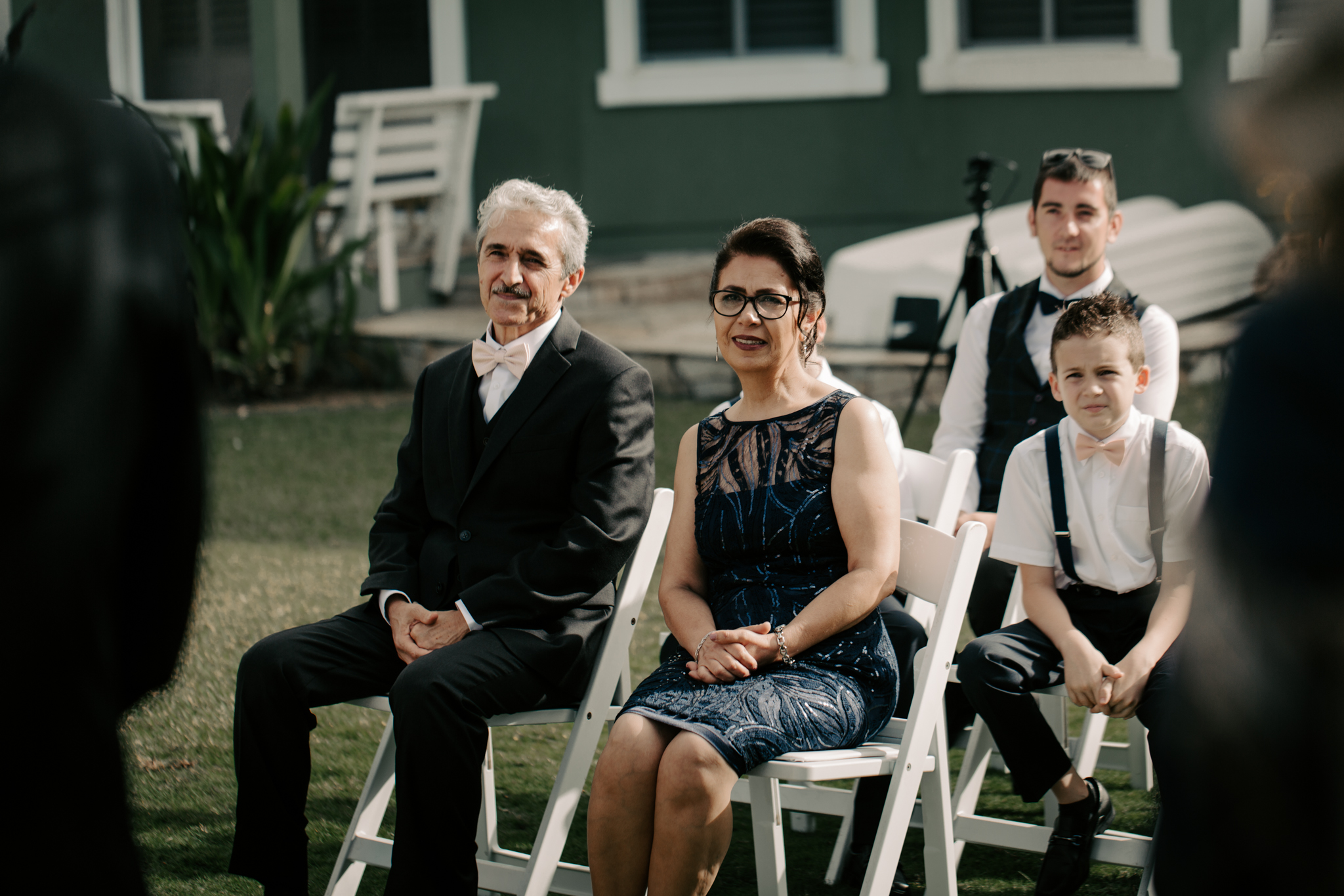 Parents of the bride watching the ceremony