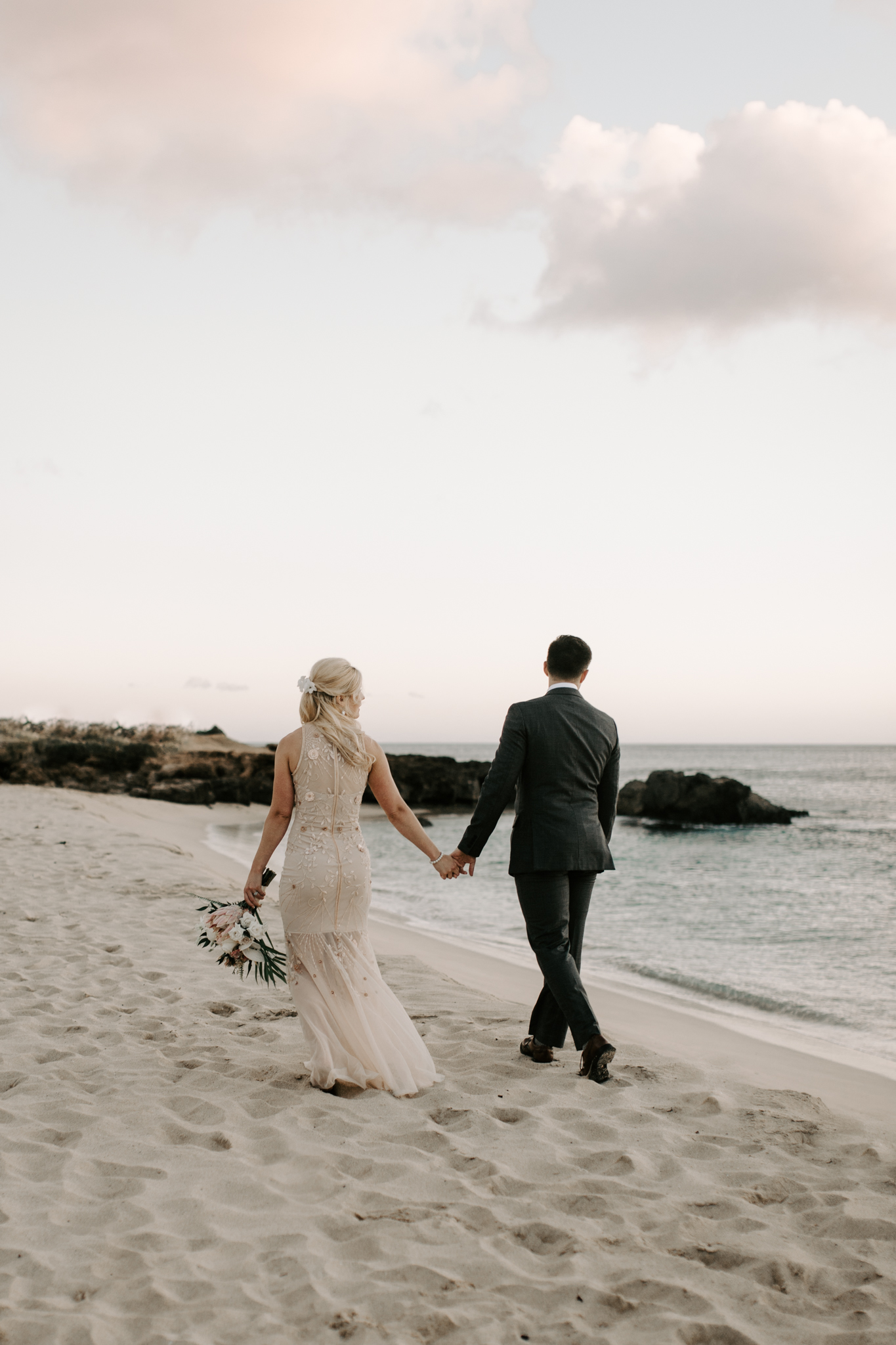 Pray for Sets Beach Wedding by Hawaii Wedding Photographer Desiree Leilani