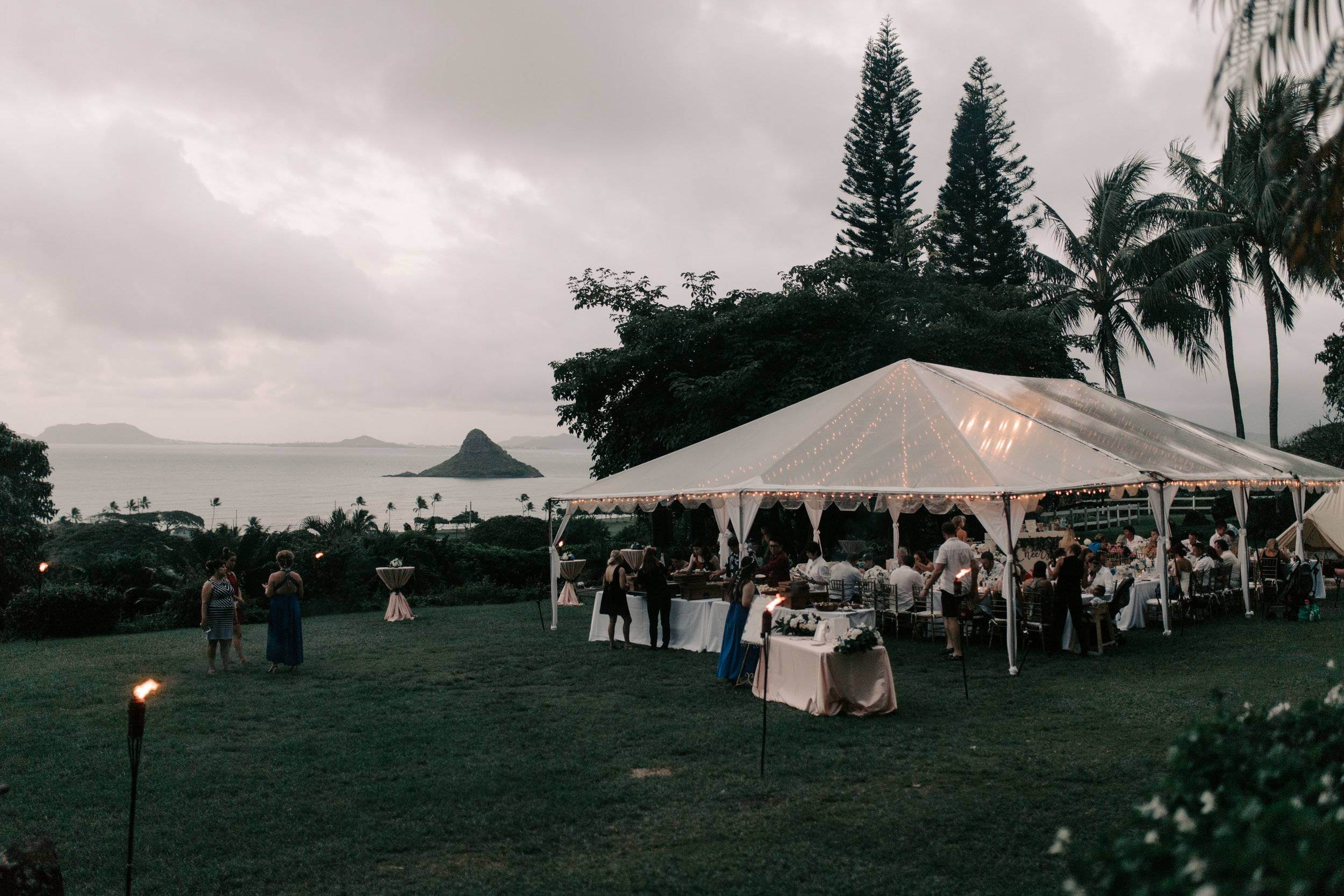 Beautiful ocean view wedding at  Kualoa Ranch Paliku Gardens. Photography by Hawaii wedding photographer Desiree Leilani