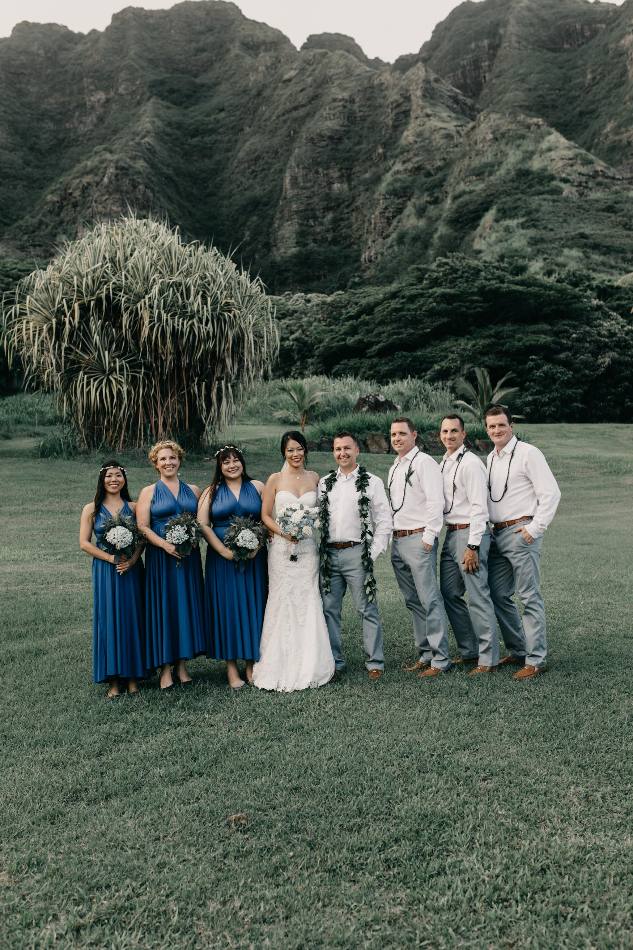 Bridal Party Photo at Kualoa Ranch Paliku Gardens. Photography by Hawaii wedding photographer Desiree Leilani