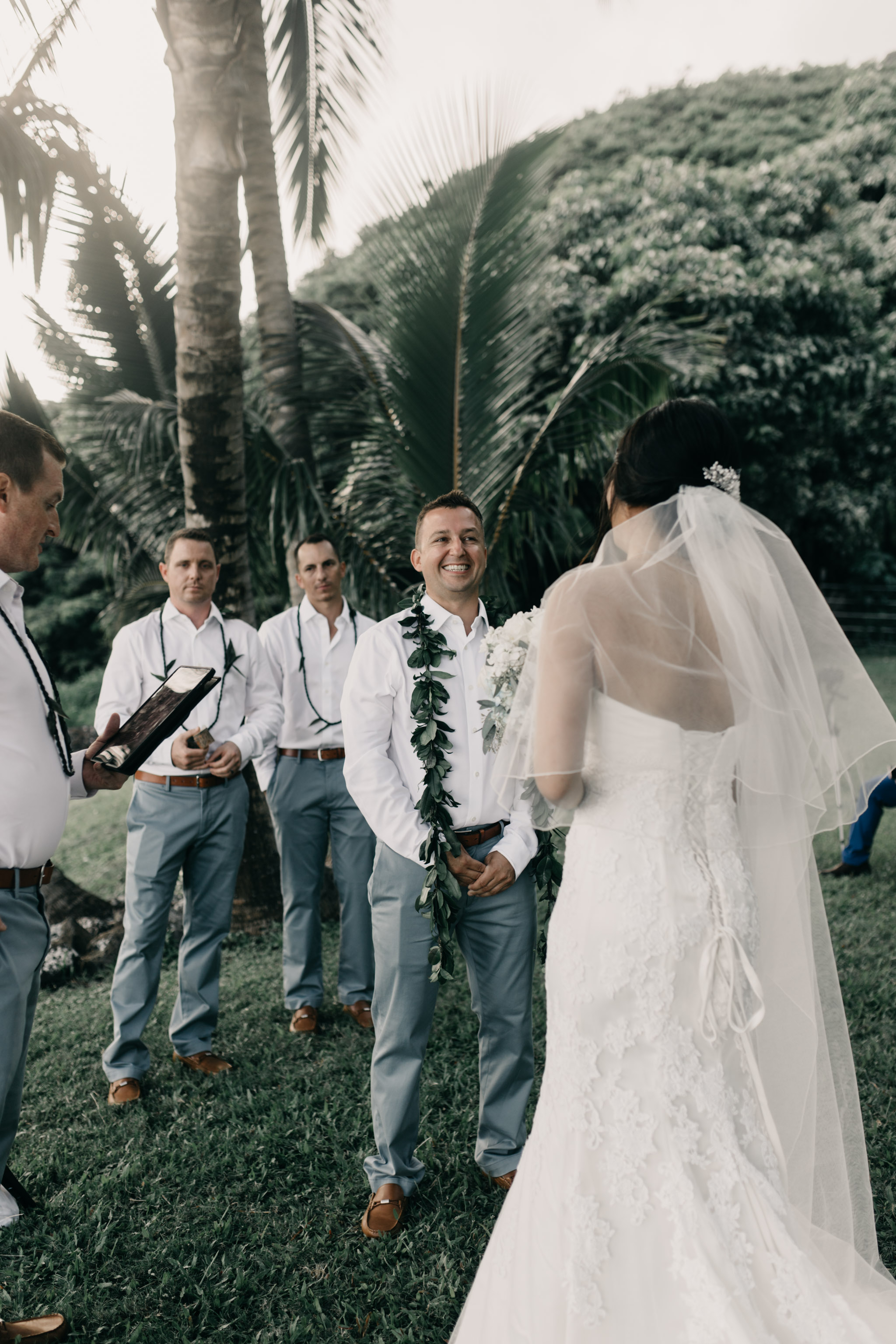 Wedding Ceremony at Kualoa Ranch Paliku Gardens. Photography by Hawaii wedding photographer Desiree Leilani