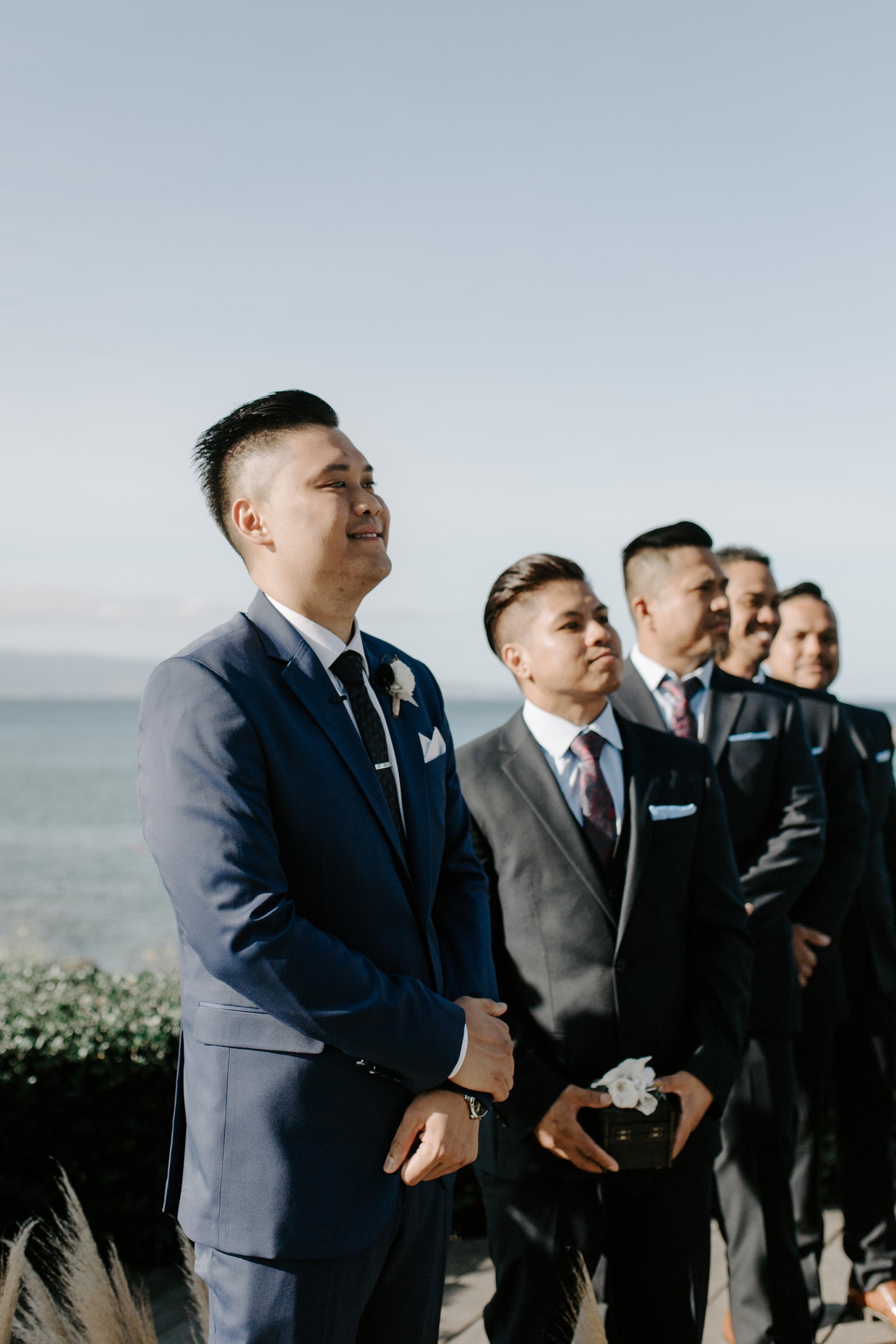 Groom's reaction seeing bride walk down the aisle   Merriman's Kapalua Maui wedding by Hawaii wedding photographer Desiree Leilani