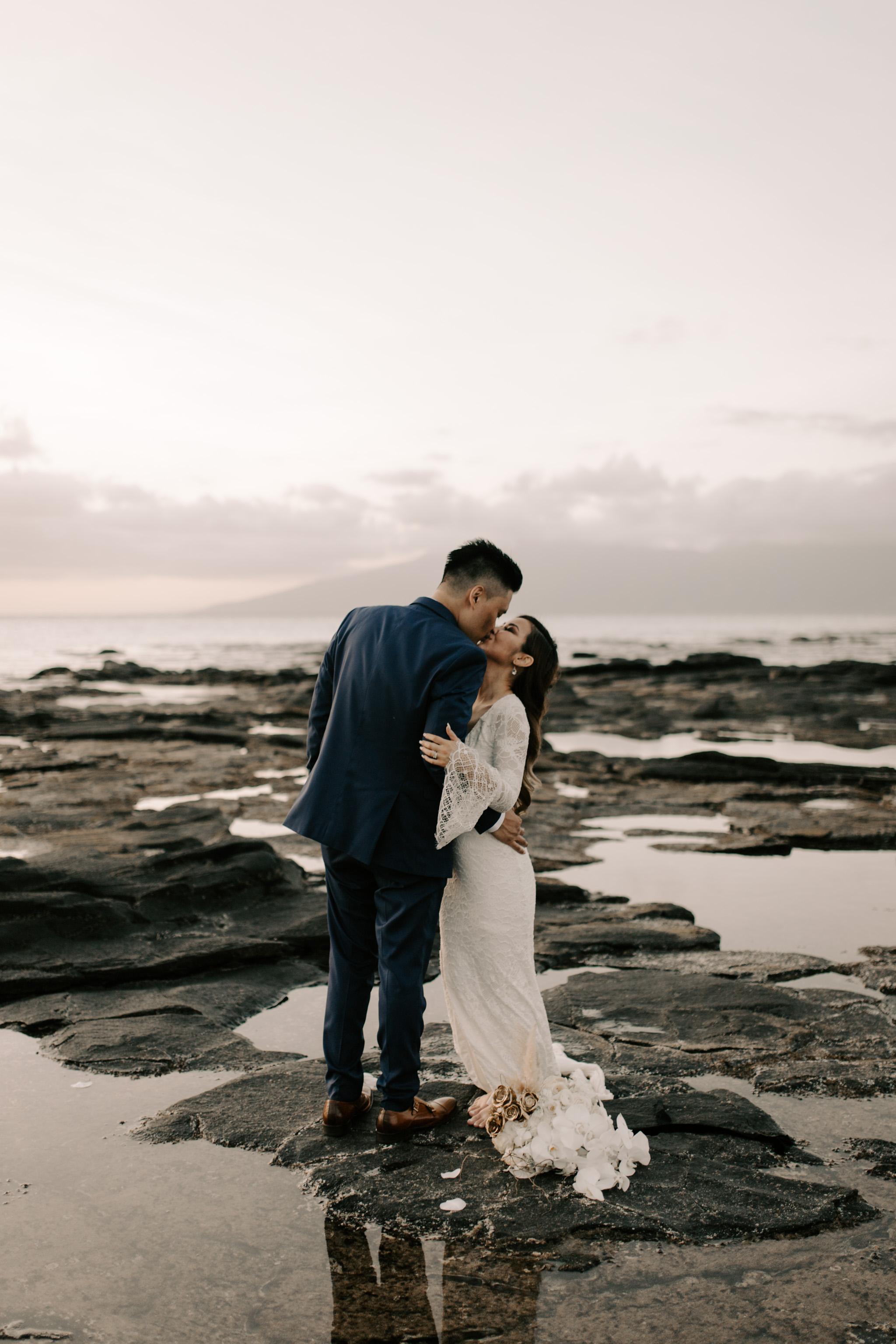 Gorgeous sunset wedding photos in the Grace Loves Lace Piper wedding dress   Merriman's Kapalua Maui wedding by Hawaii wedding photographer Desiree Leilani