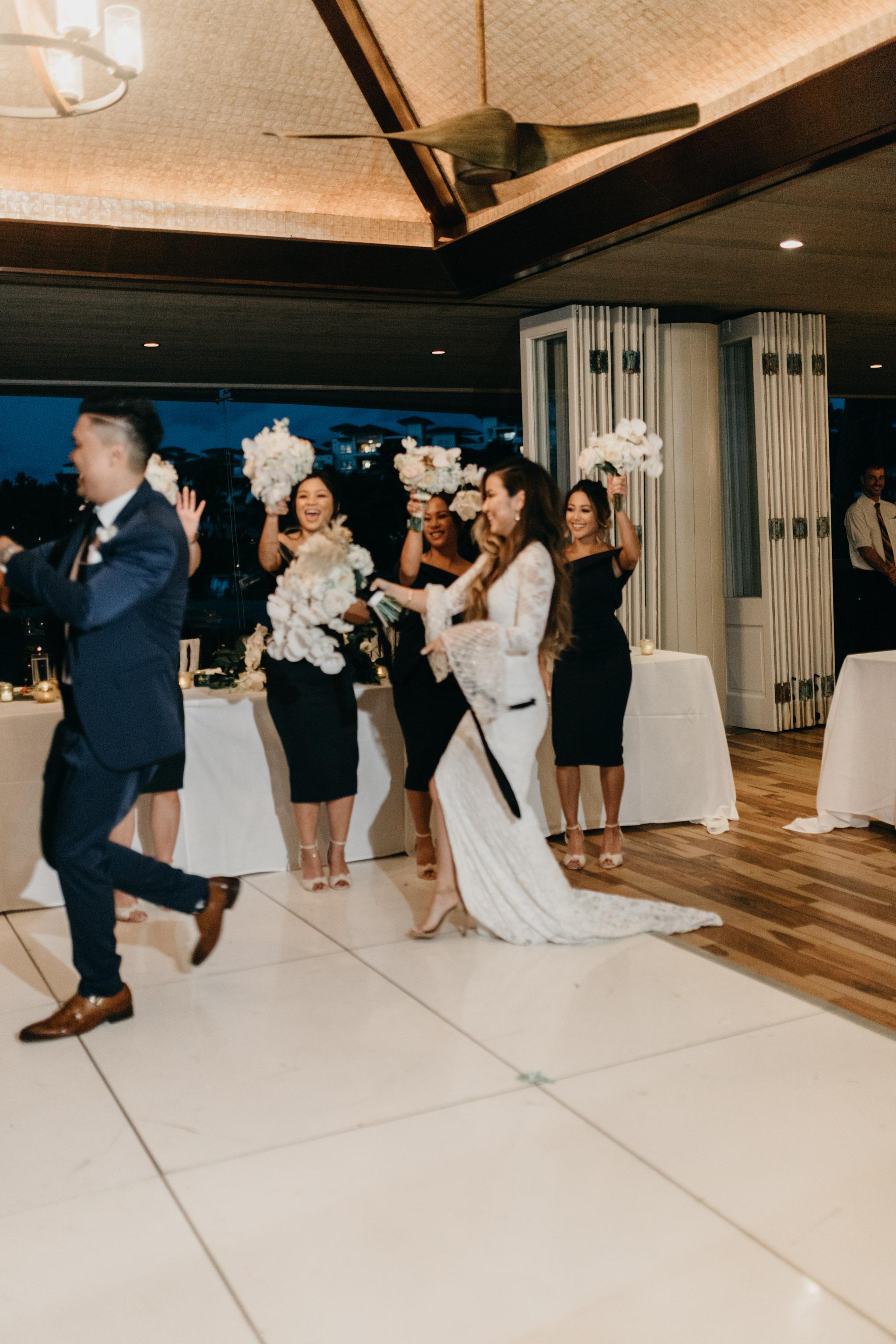 Bride & groom grand entrance   Merriman's Kapalua Maui wedding by Hawaii wedding photographer Desiree Leilani