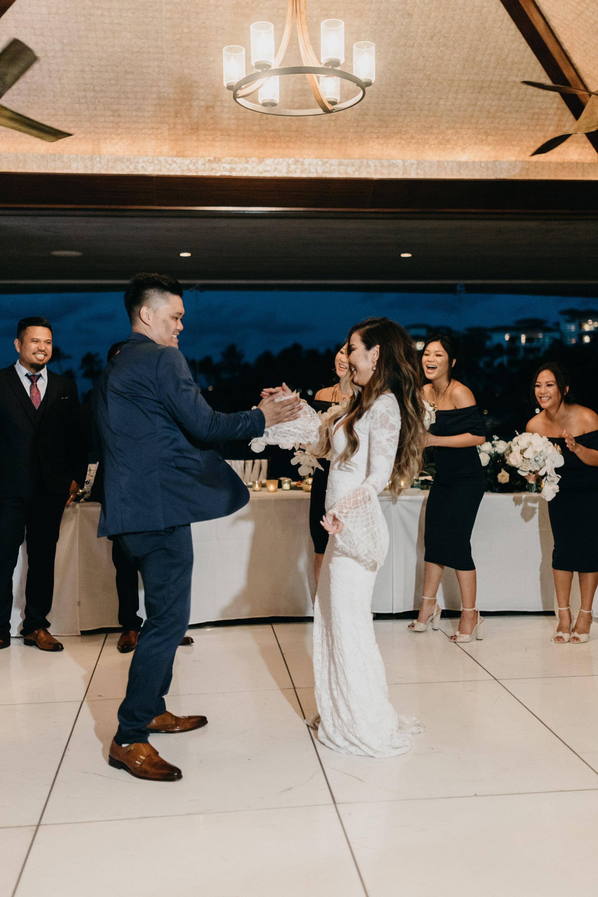 Bride and groom grand entrance idea   Merriman's Kapalua Maui wedding by Hawaii wedding photographer Desiree Leilani