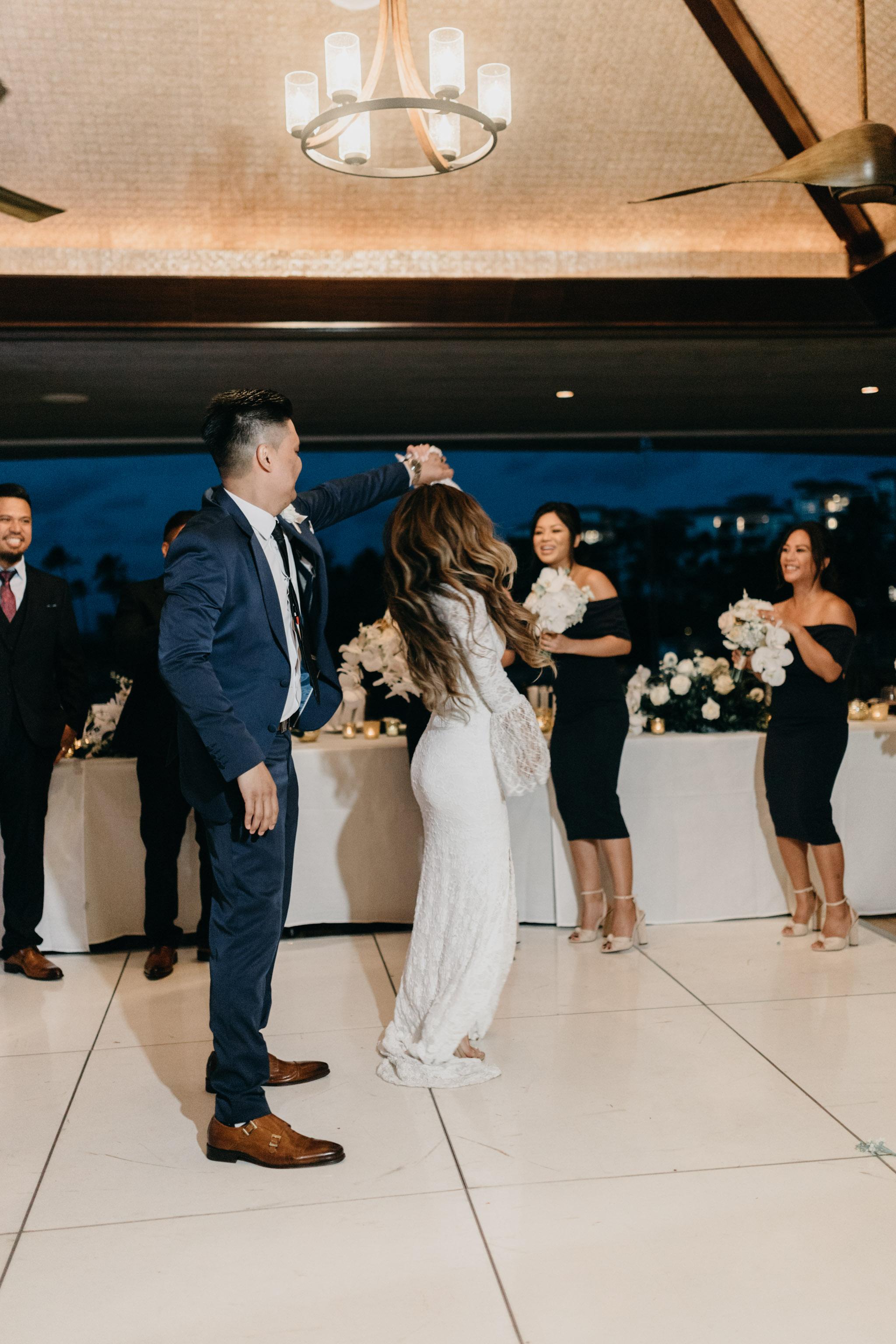Bride & groom grand entrance idea   Merriman's Kapalua Maui wedding by Hawaii wedding photographer Desiree Leilani