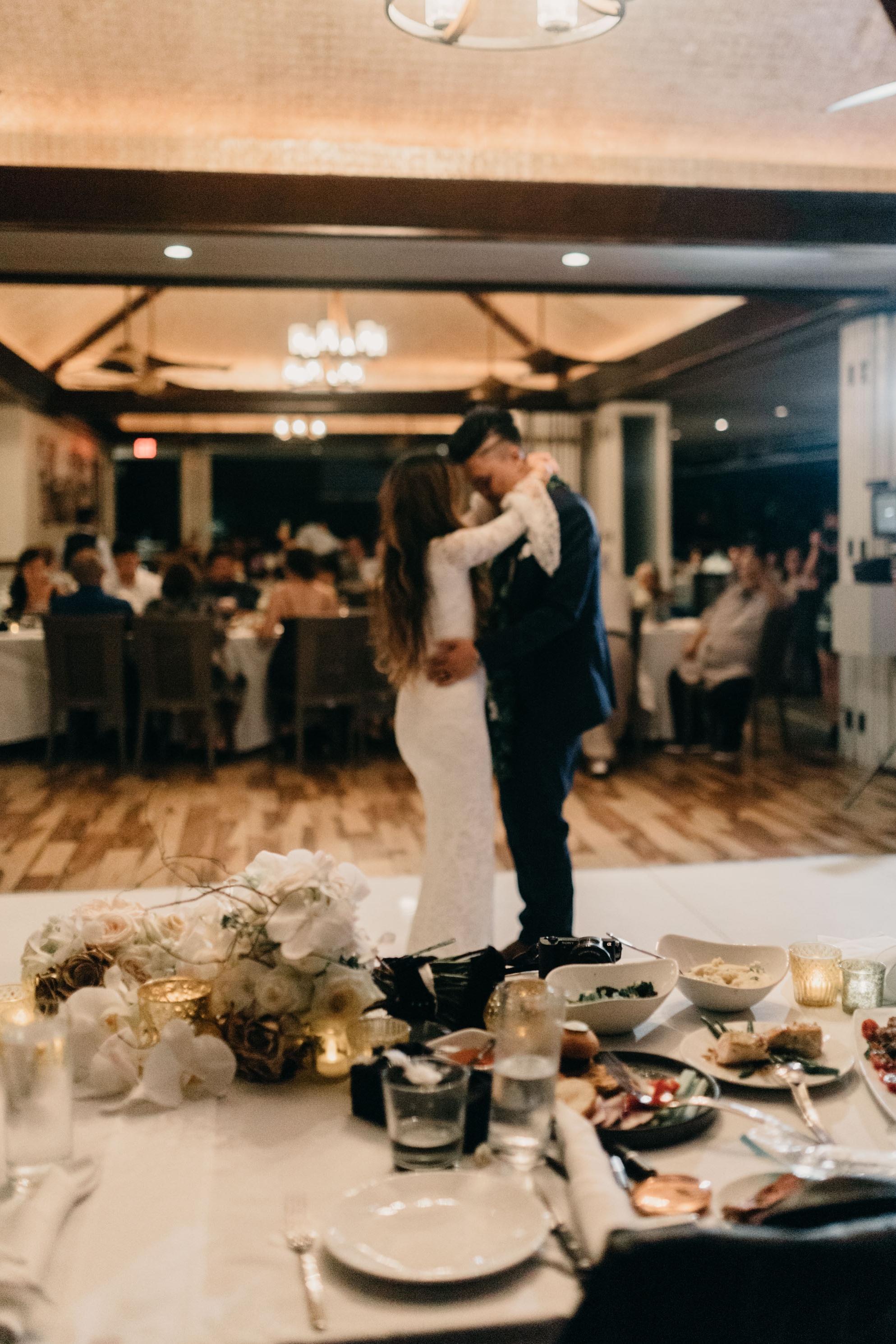 Bride and groom first dance   Merriman's Kapalua Maui wedding by Hawaii wedding photographer Desiree Leilani