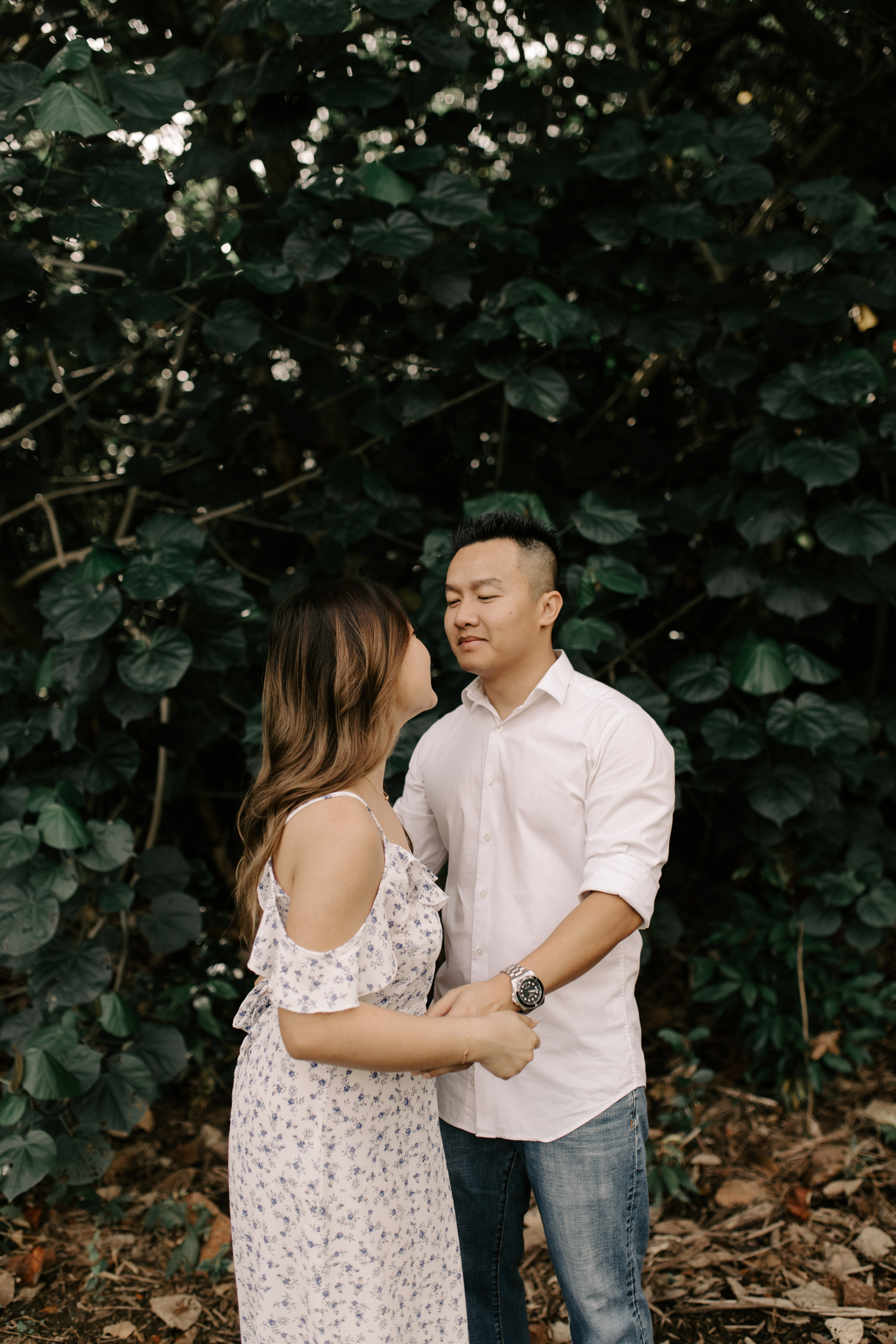 Hoomaluhia Botanical Garden Engagement Photos by Oahu Wedding Photographer Desiree Leilani