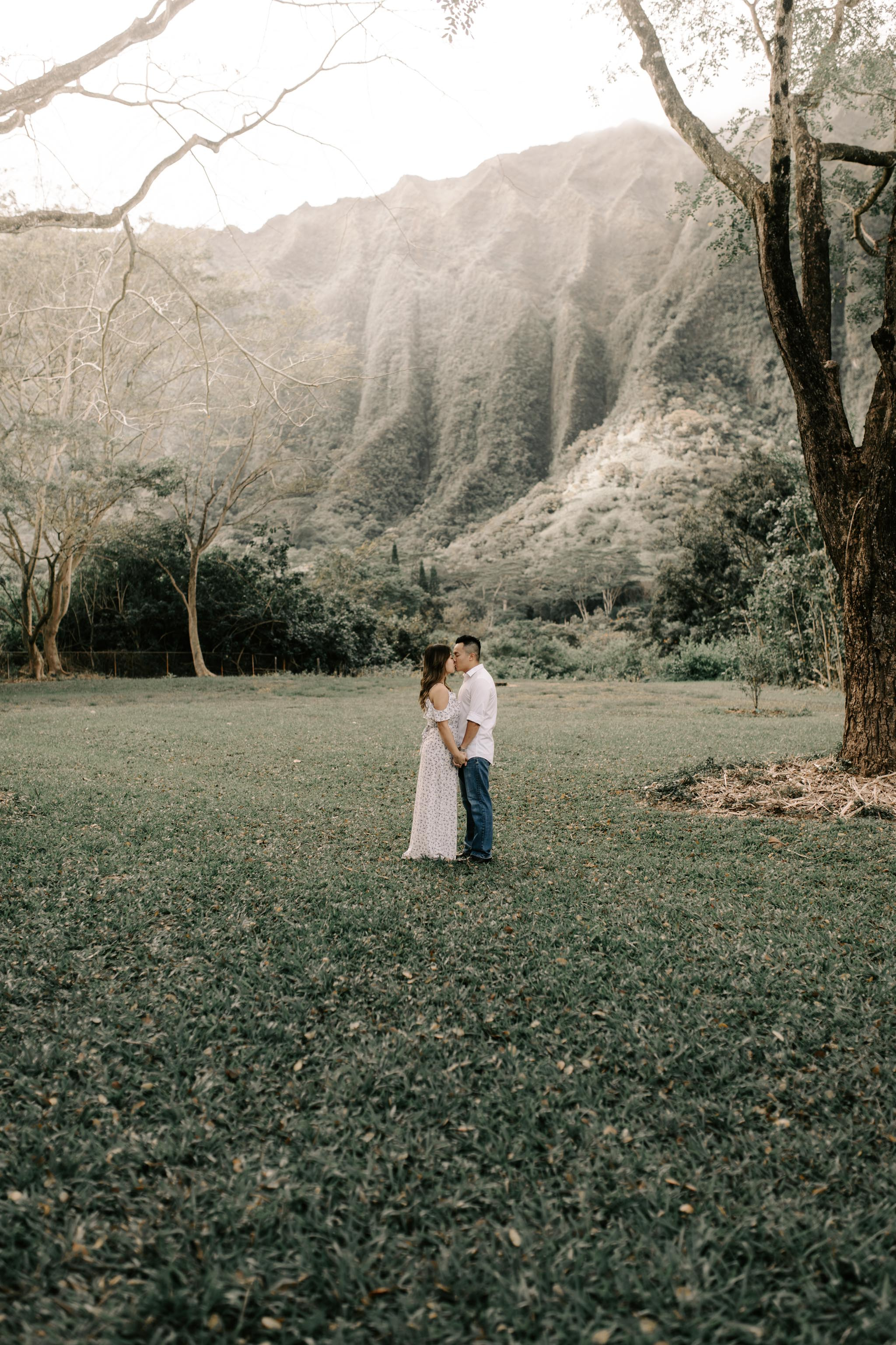 Oahu Mountain Engagements at Hoomaluhia Botanical Garden by Hawaii Wedding Photographer Desiree Leilani