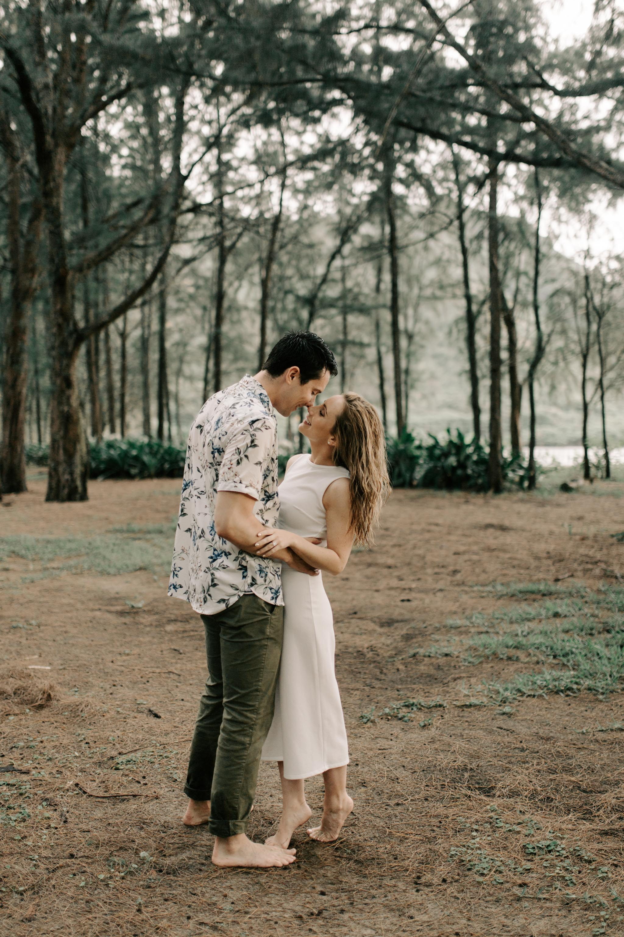 Cute engagement session at Kahana Bay Hawaii by Oahu Photographer Desiree Leilani