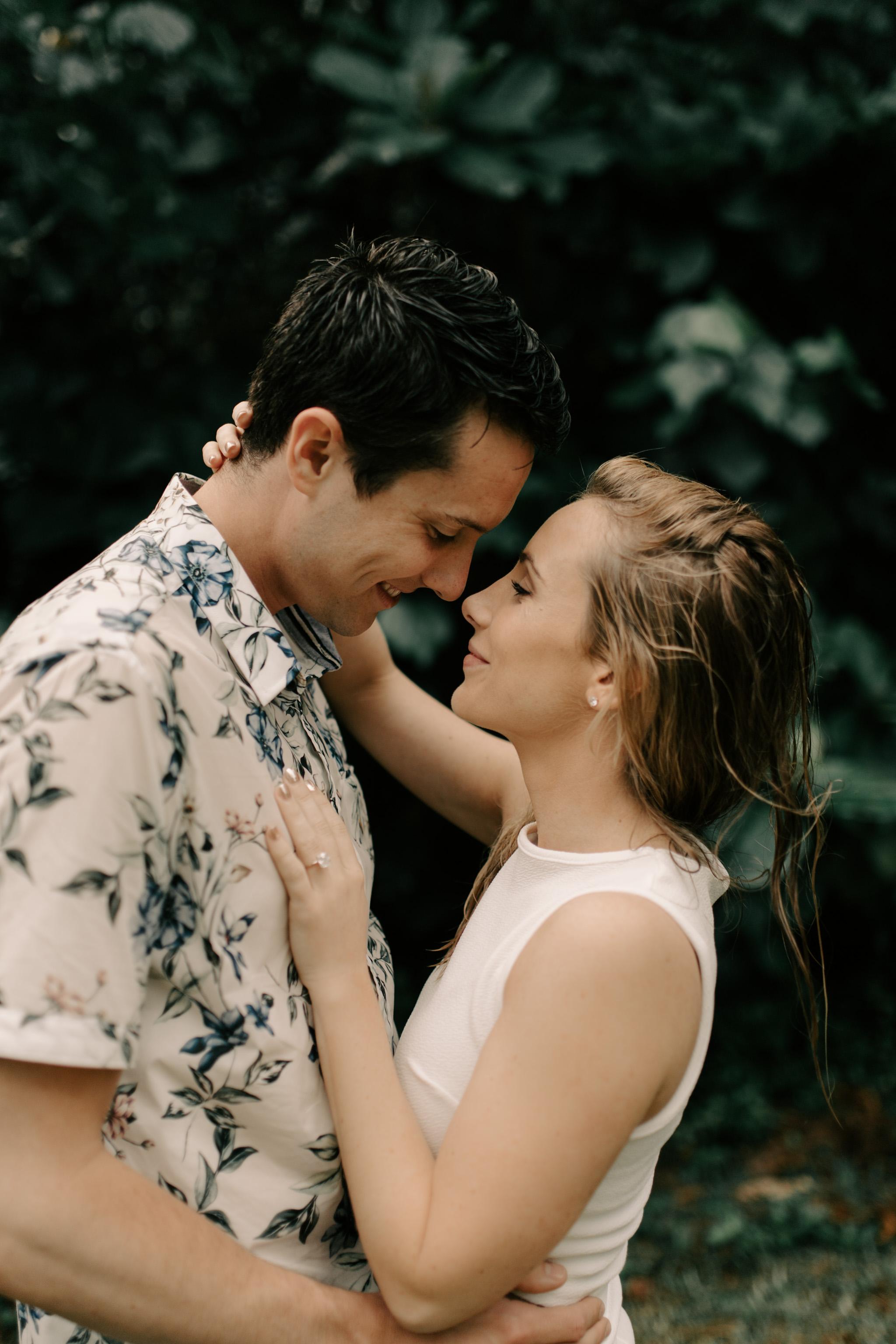 Gorgeous Kahana Bay Rainstorm Engagement Session By Hawaii Wedding Photographer Desiree Leilani