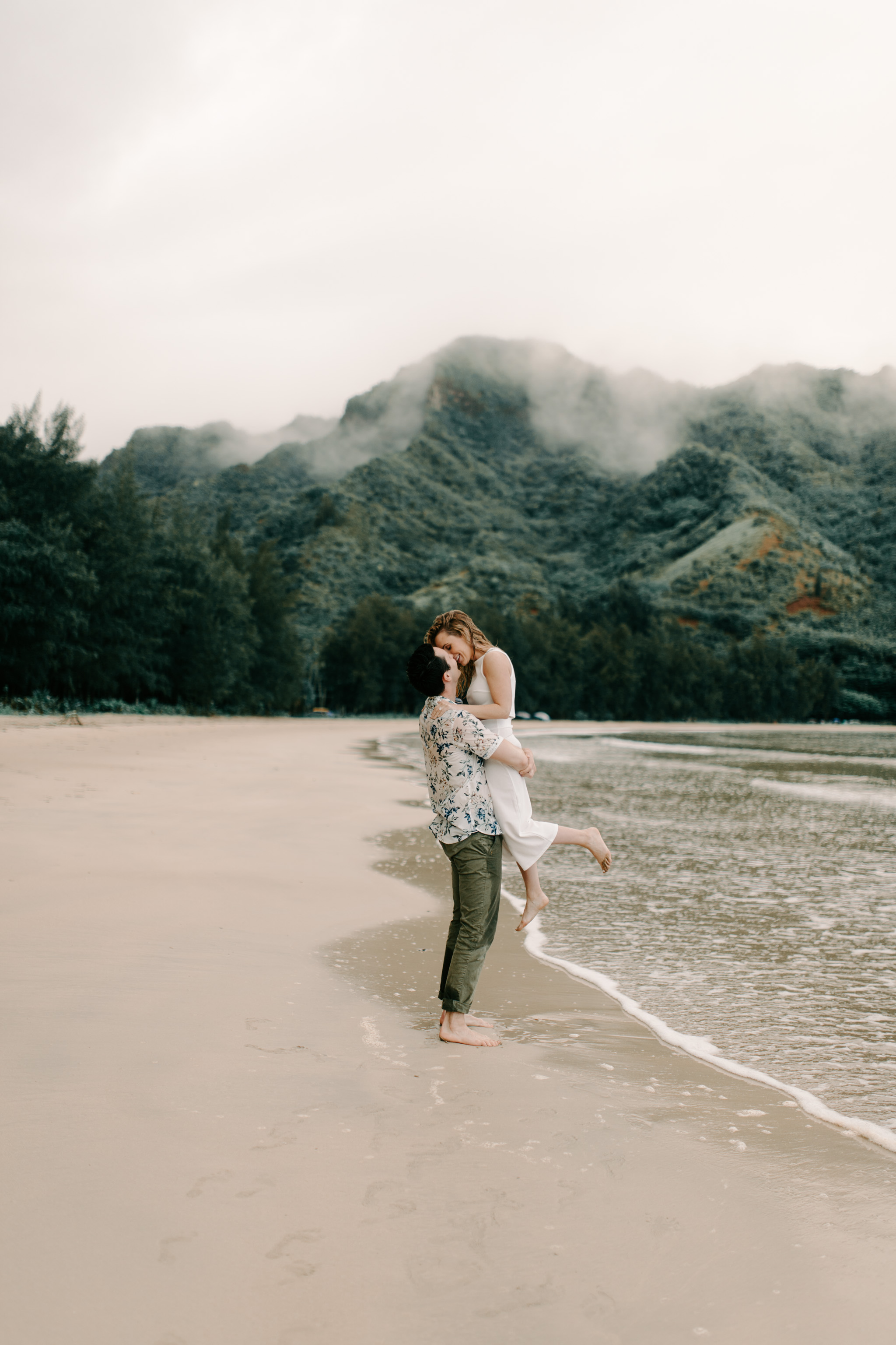 Romantic Oahu Beach Engagement Photos by Hawaii Wedding Photographer Desiree Leilani