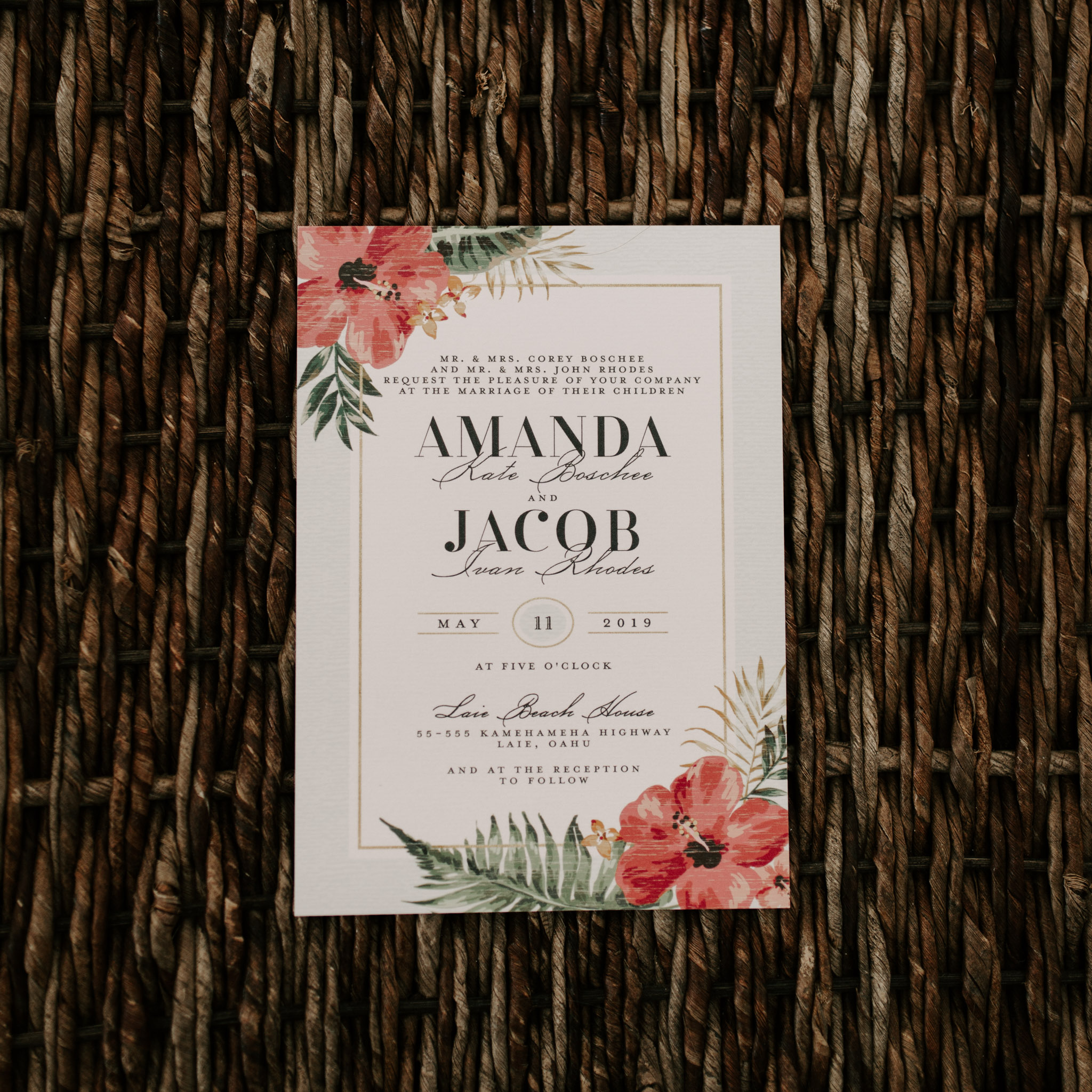 Wedding Invitation- Laie Point Backyard Wedding By Hawaii Wedding Photographer Desiree Leilani