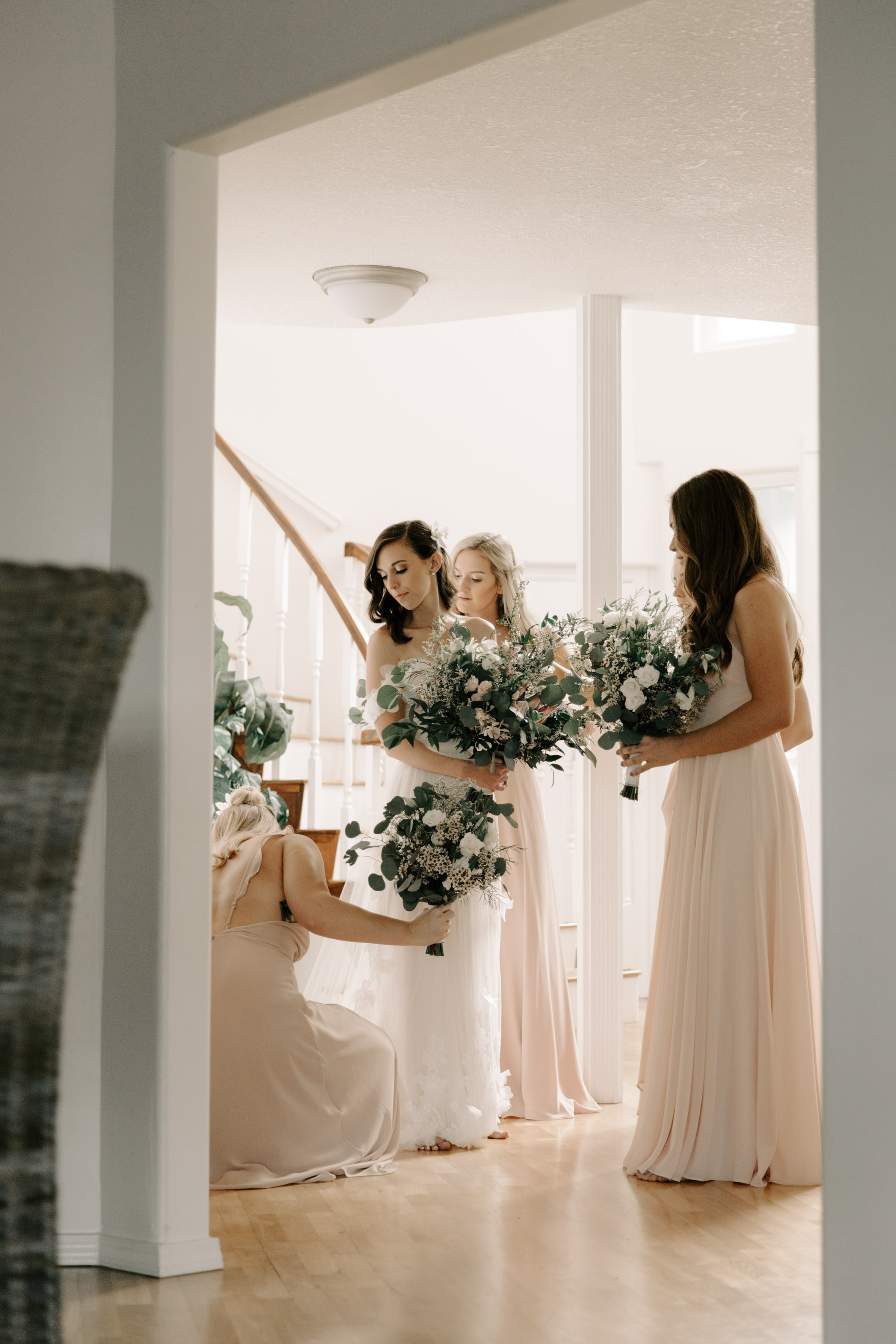 Bride and bridesmaids before the ceremony- Laie Point Backyard Wedding By Hawaii Wedding Photographer Desiree Leilani