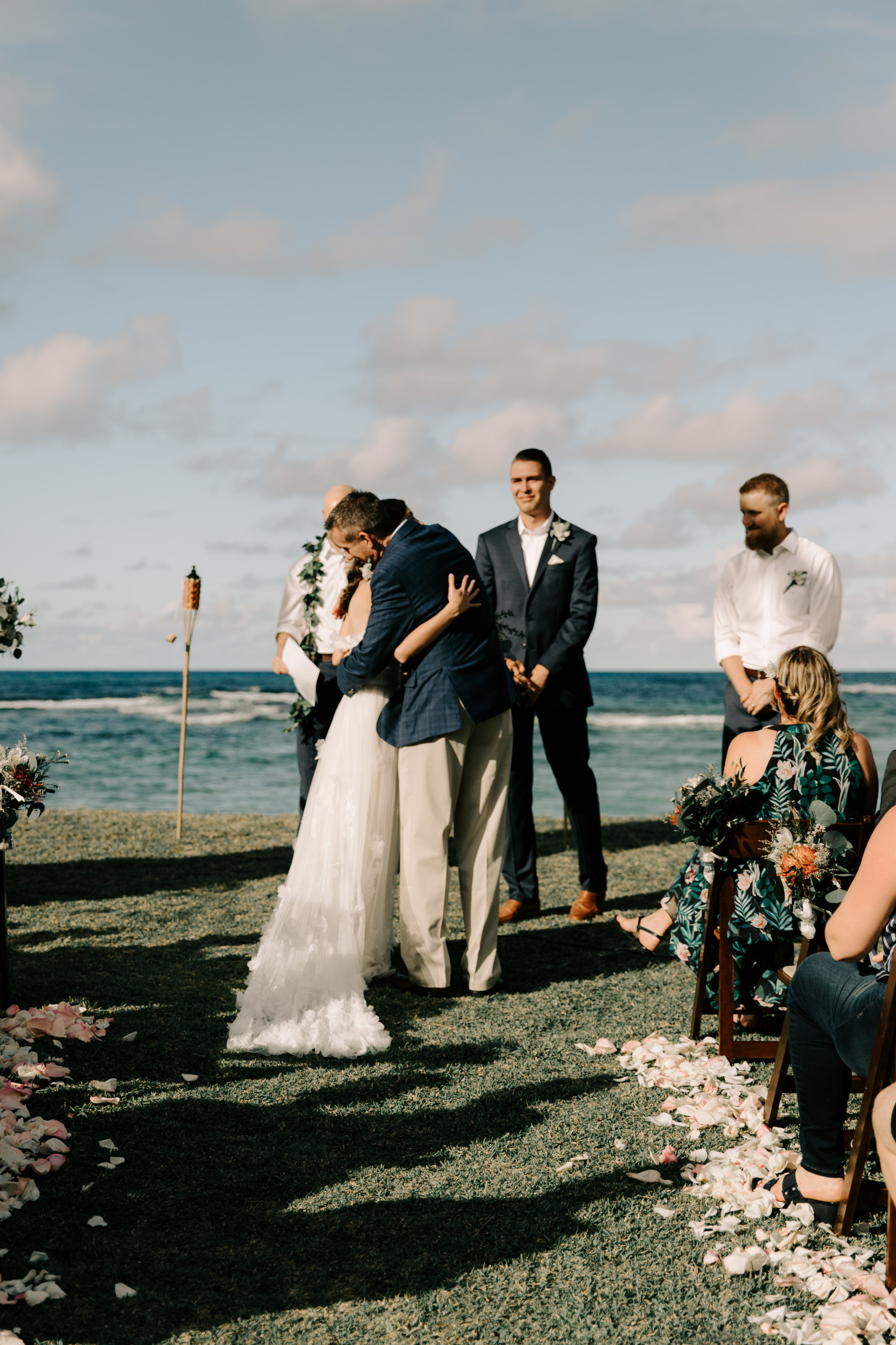 Father giving his daughter away at her wedding- Laie Point Backyard Wedding By Hawaii Wedding Photographer Desiree Leilani