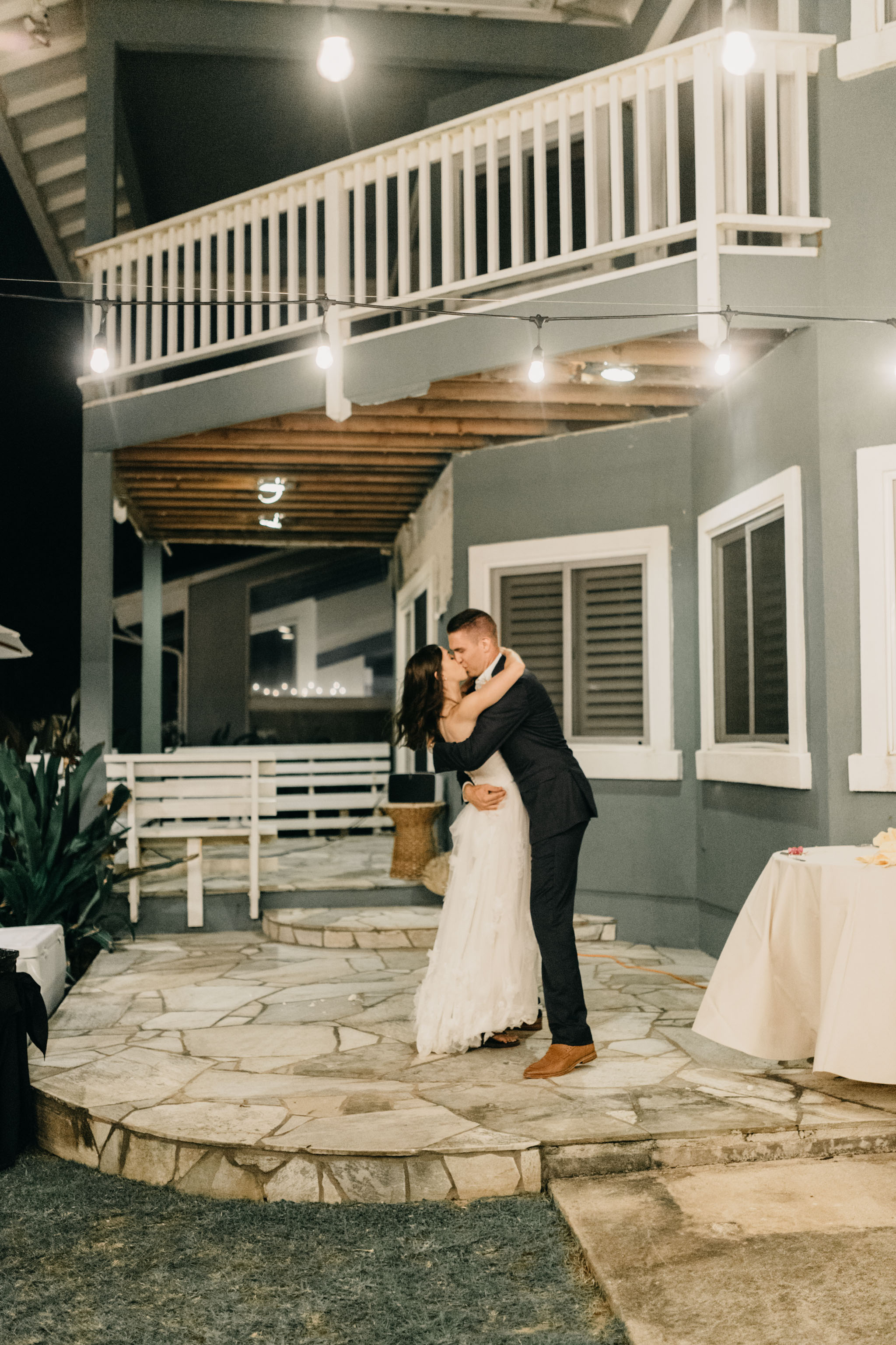 Bride and groom first dance- Laie Point Backyard Wedding By Hawaii Wedding Photographer Desiree Leilani