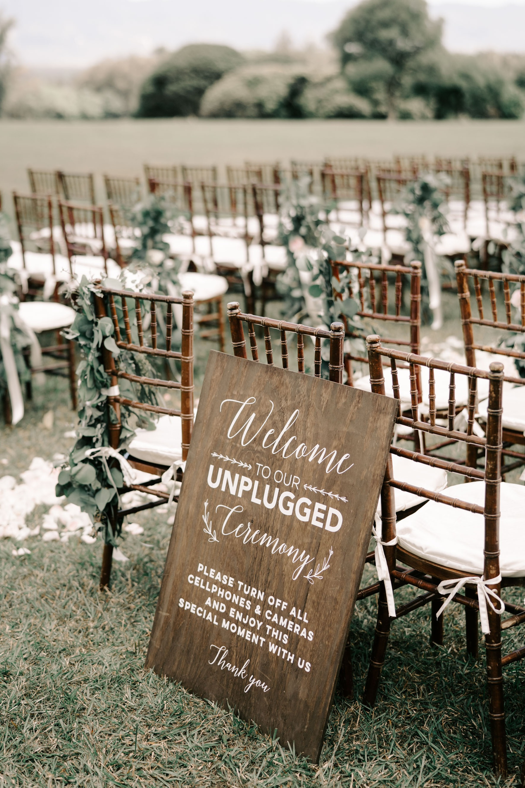 Unplugged Ceremony Sign Idea - Sunset Ranch Hawaii Wedding By Oahu Wedding Photographer Desiree Leilani
