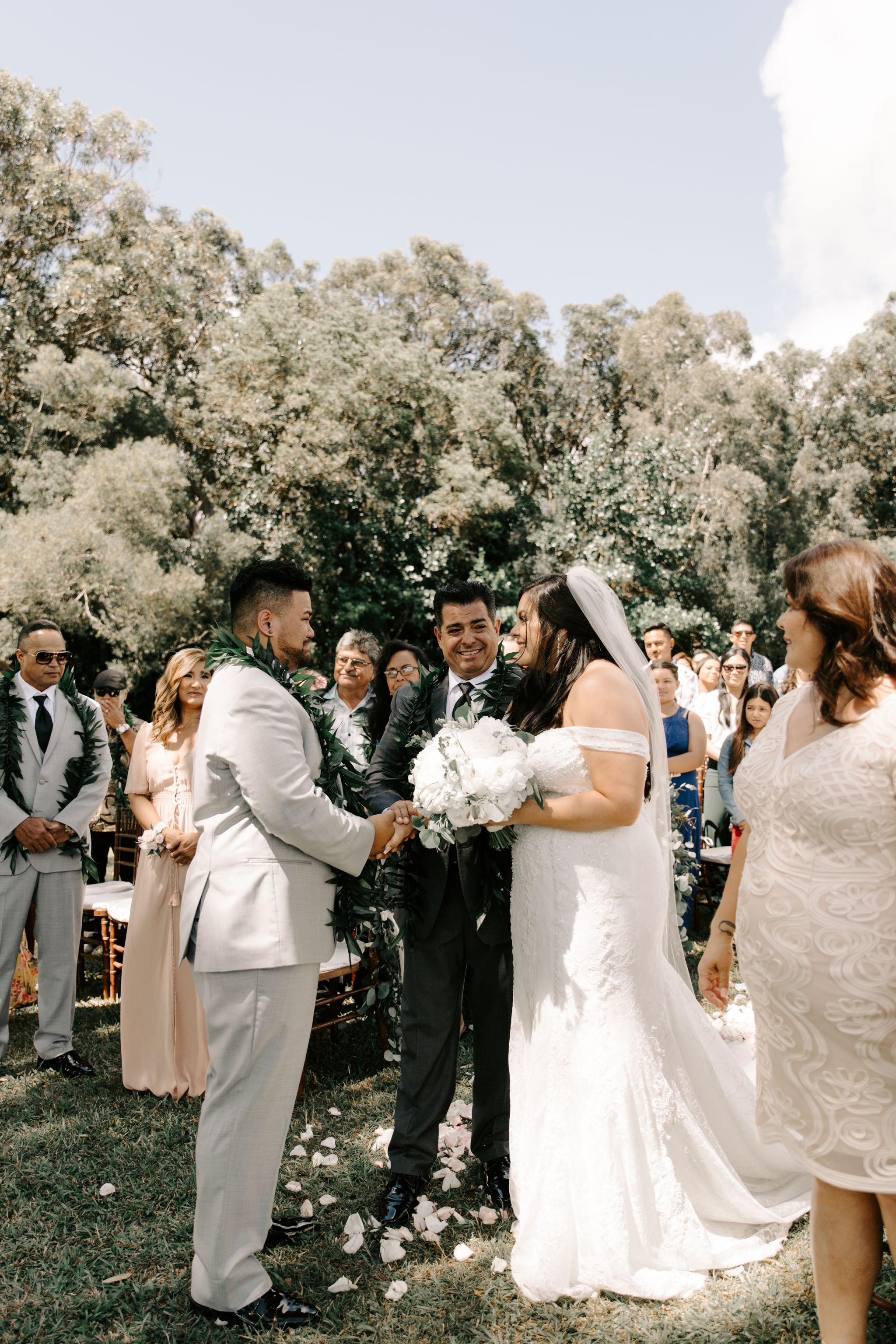 Bride's father giving her away - Sunset Ranch Hawaii Wedding By Oahu Wedding Photographer Desiree Leilani