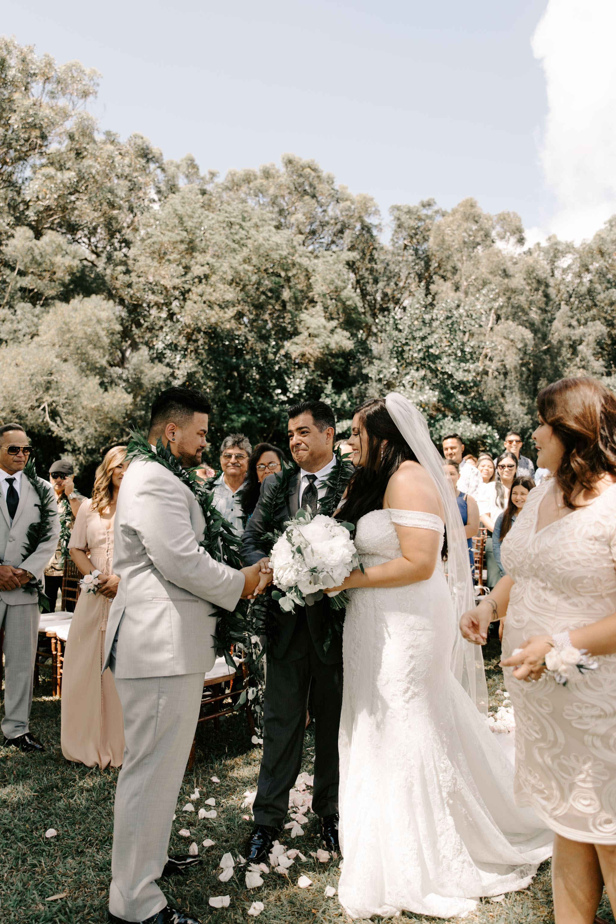 Emotions as bride's father giving her away - Sunset Ranch Hawaii Wedding By Oahu Wedding Photographer Desiree Leilani