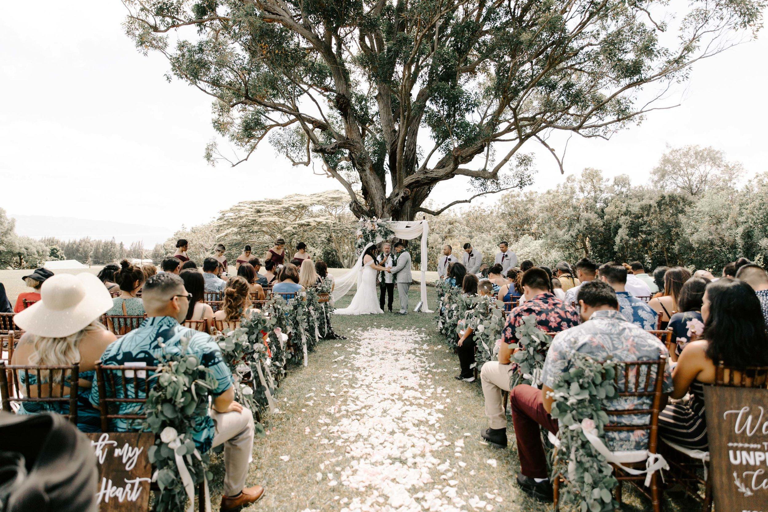 Sunset Ranch Hawaii Wedding Ceremony By Oahu Wedding Photographer Desiree Leilani