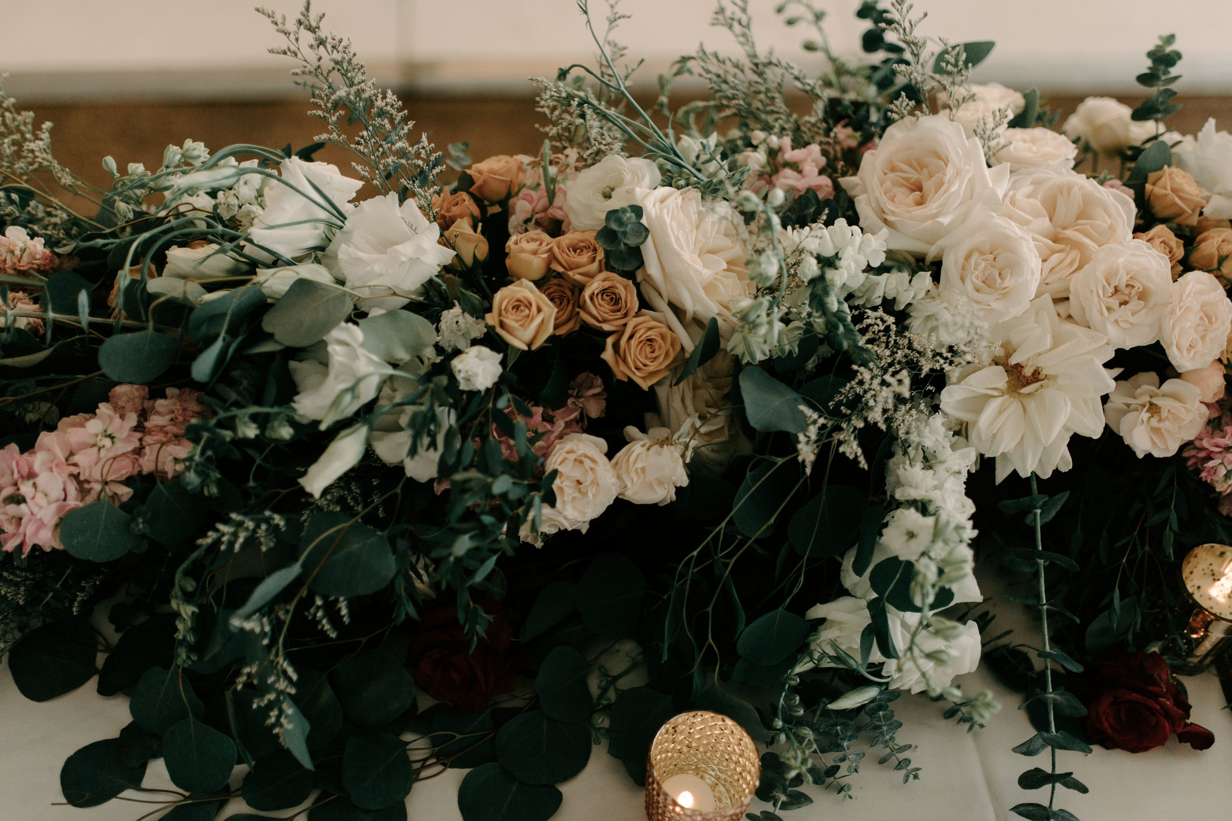 Head Table Floral Ideas - Hawaii Barn Wedding Reception - Sunset Ranch Hawaii Wedding By Oahu Wedding Photographer Desiree Leilani