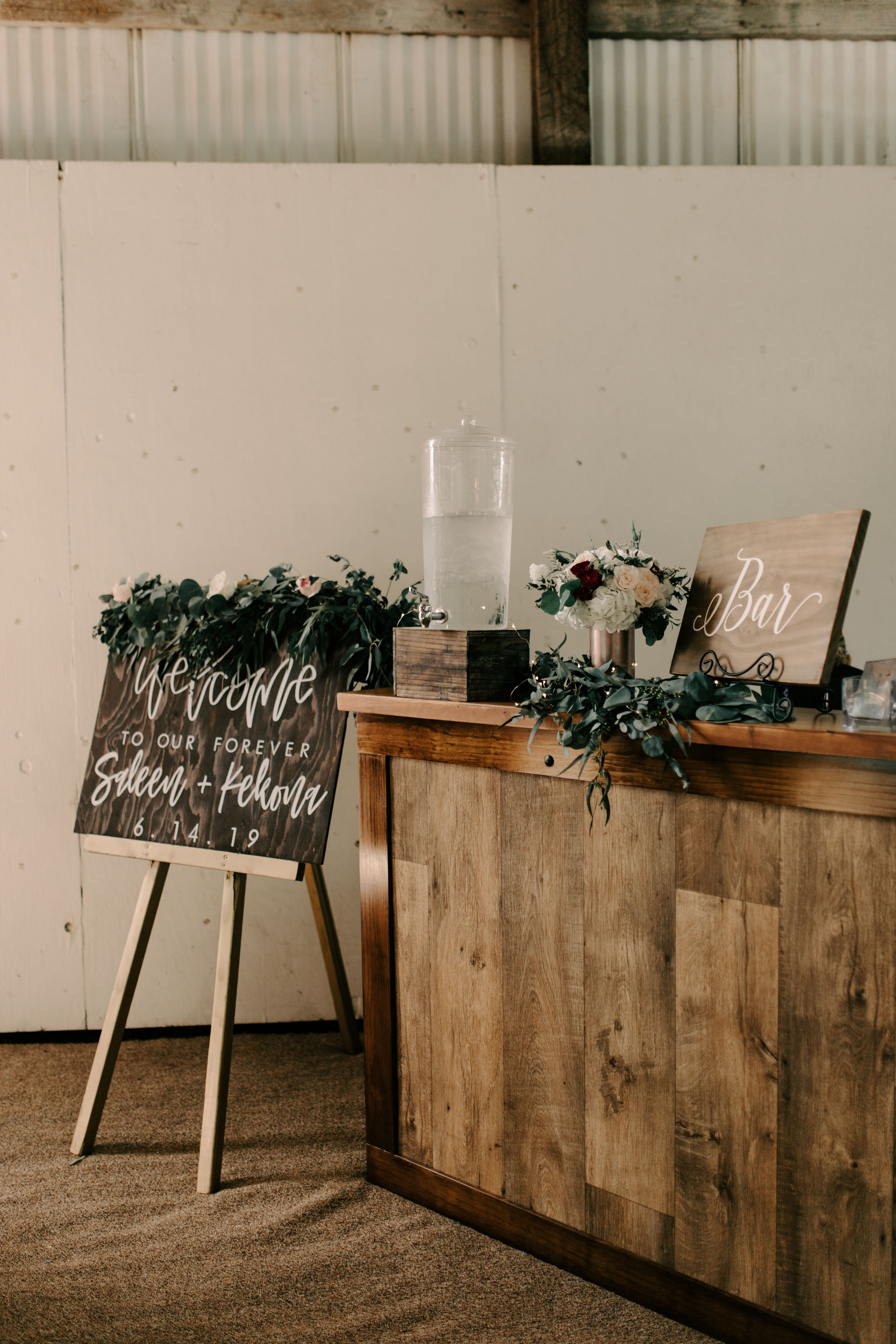 Hawaii Barn Wedding Reception Bar Setup Idea- Sunset Ranch Hawaii Wedding By Oahu Wedding Photographer Desiree Leilani
