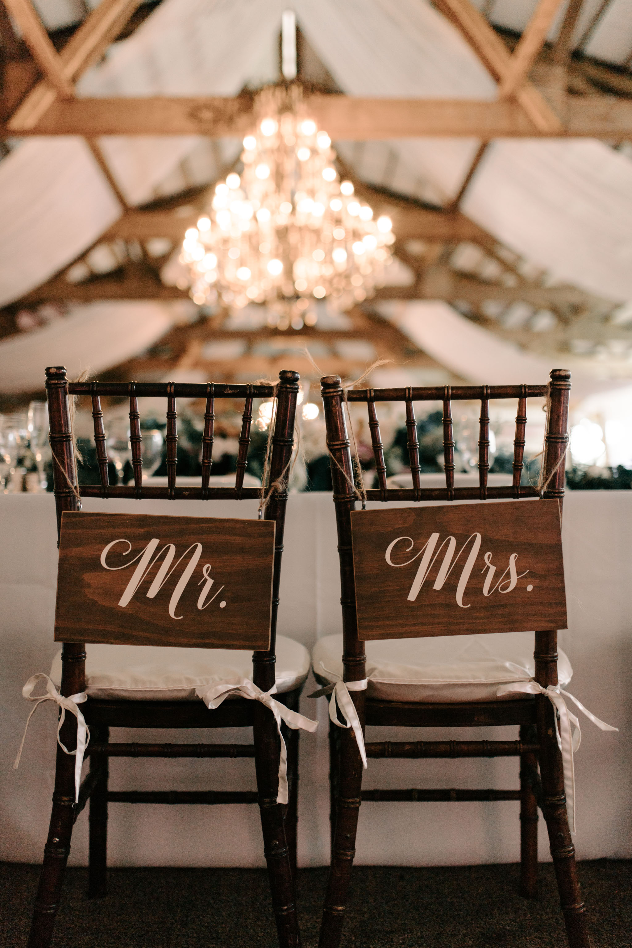 Mr. and Mrs. Chair Signs Idea - Hawaii Barn Wedding Reception - Sunset Ranch Hawaii Wedding By Oahu Wedding Photographer Desiree Leilani