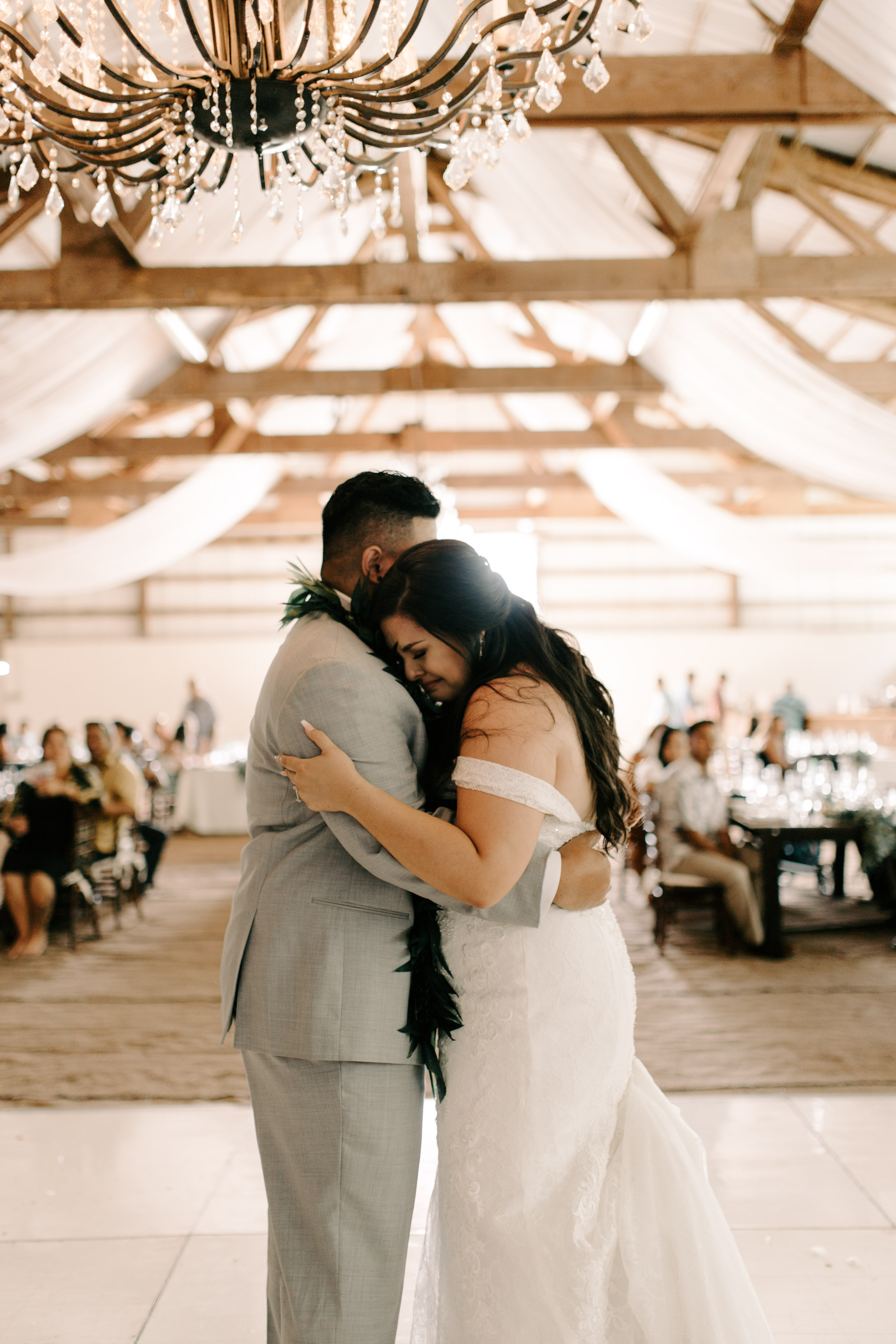 Bride Crying During the First Dance - Hawaii Barn Wedding Reception - Sunset Ranch Hawaii Wedding By Oahu Wedding Photographer Desiree Leilani