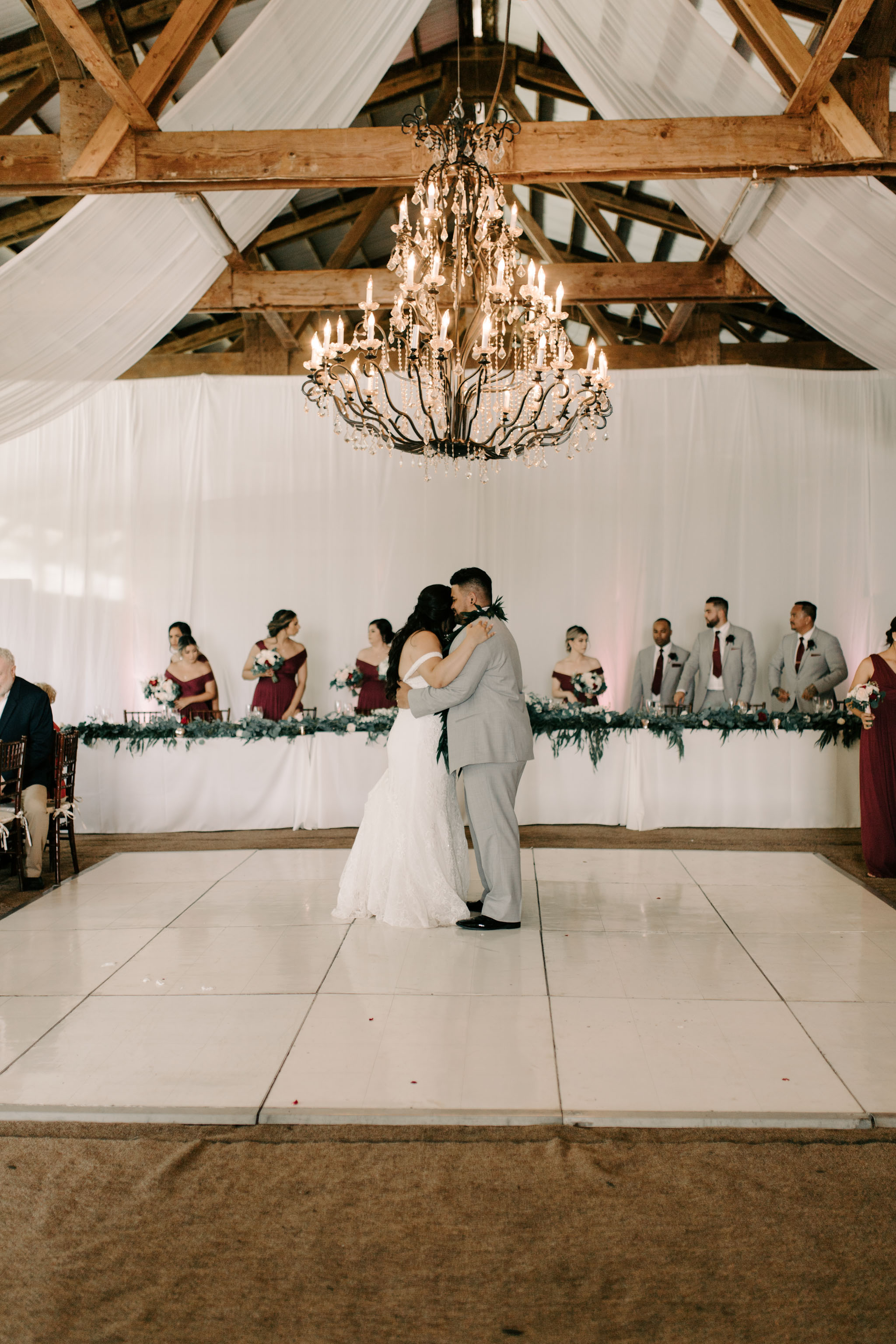 Bride and Groom First Dance - Hawaii Barn Wedding Reception - Sunset Ranch Hawaii Wedding By Oahu Wedding Photographer Desiree Leilani