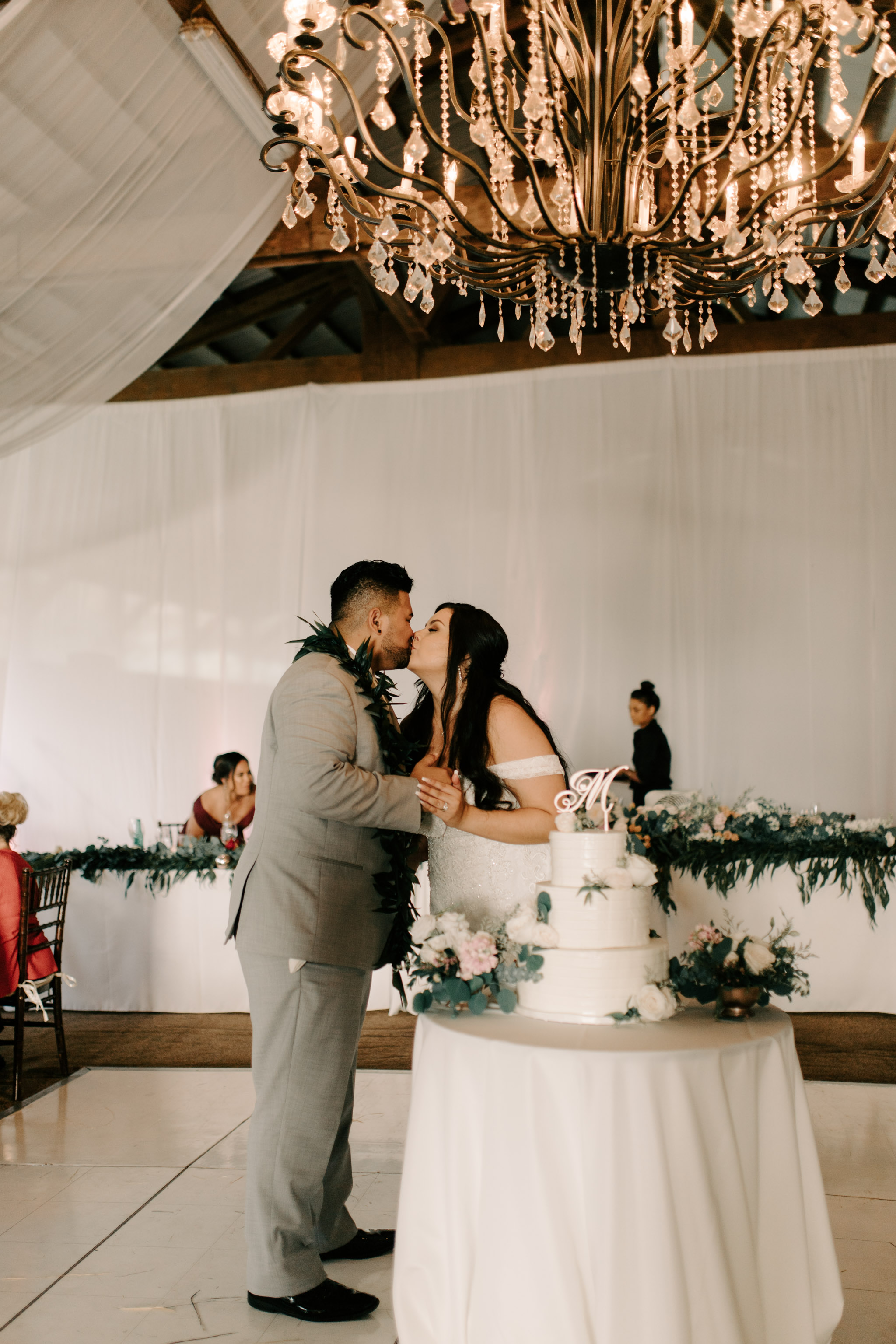 Bride and Groom Cake Cutting - Hawaii Barn Wedding Reception - Sunset Ranch Hawaii Wedding By Oahu Wedding Photographer Desiree Leilani