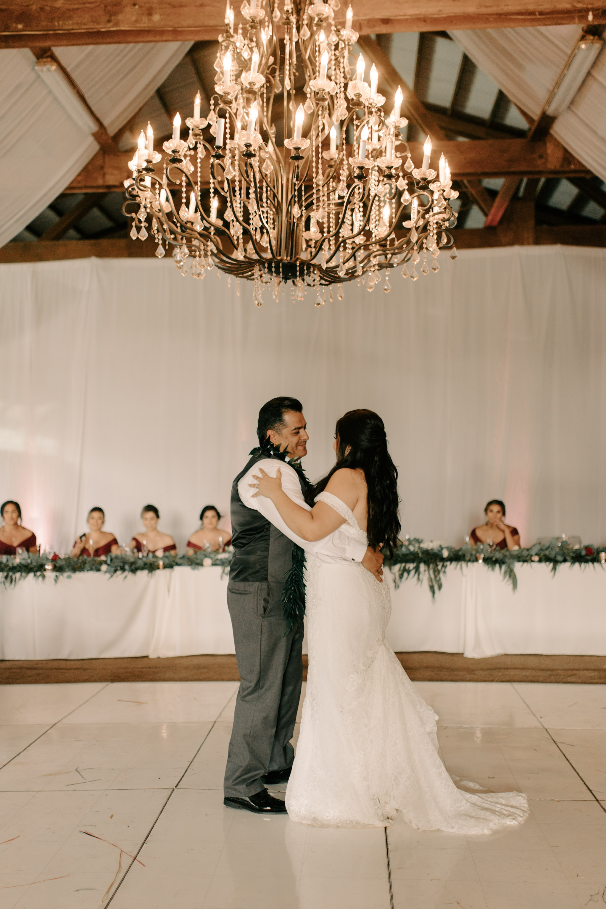 Father and Daughter Dance - Hawaii Barn Wedding Reception - Sunset Ranch Hawaii Wedding By Oahu Wedding Photographer Desiree Leilani