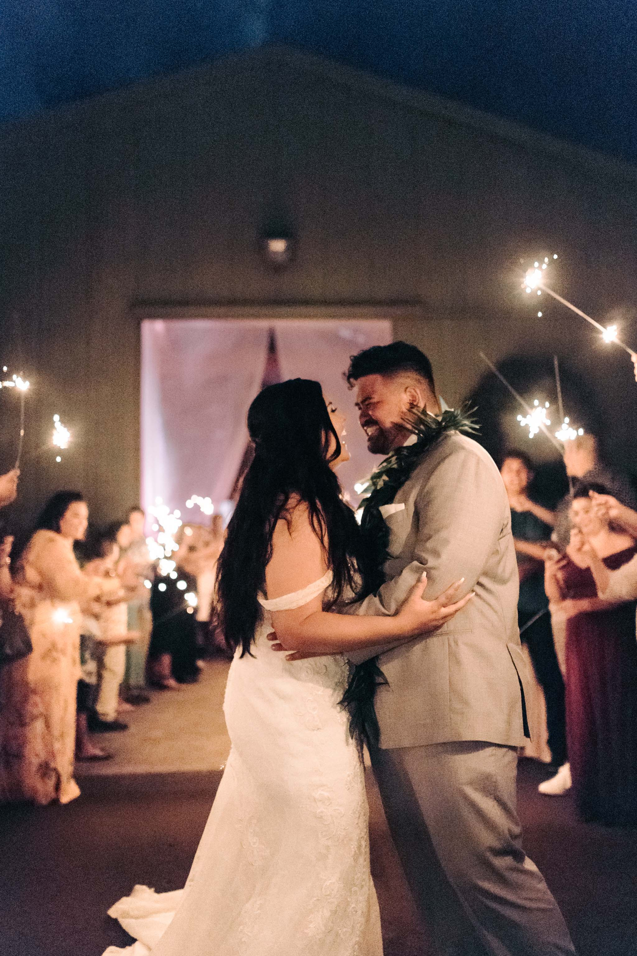 Hawaii Sparkler Exit- Sunset Ranch Hawaii Wedding By Oahu Wedding Photographer Desiree Leilani