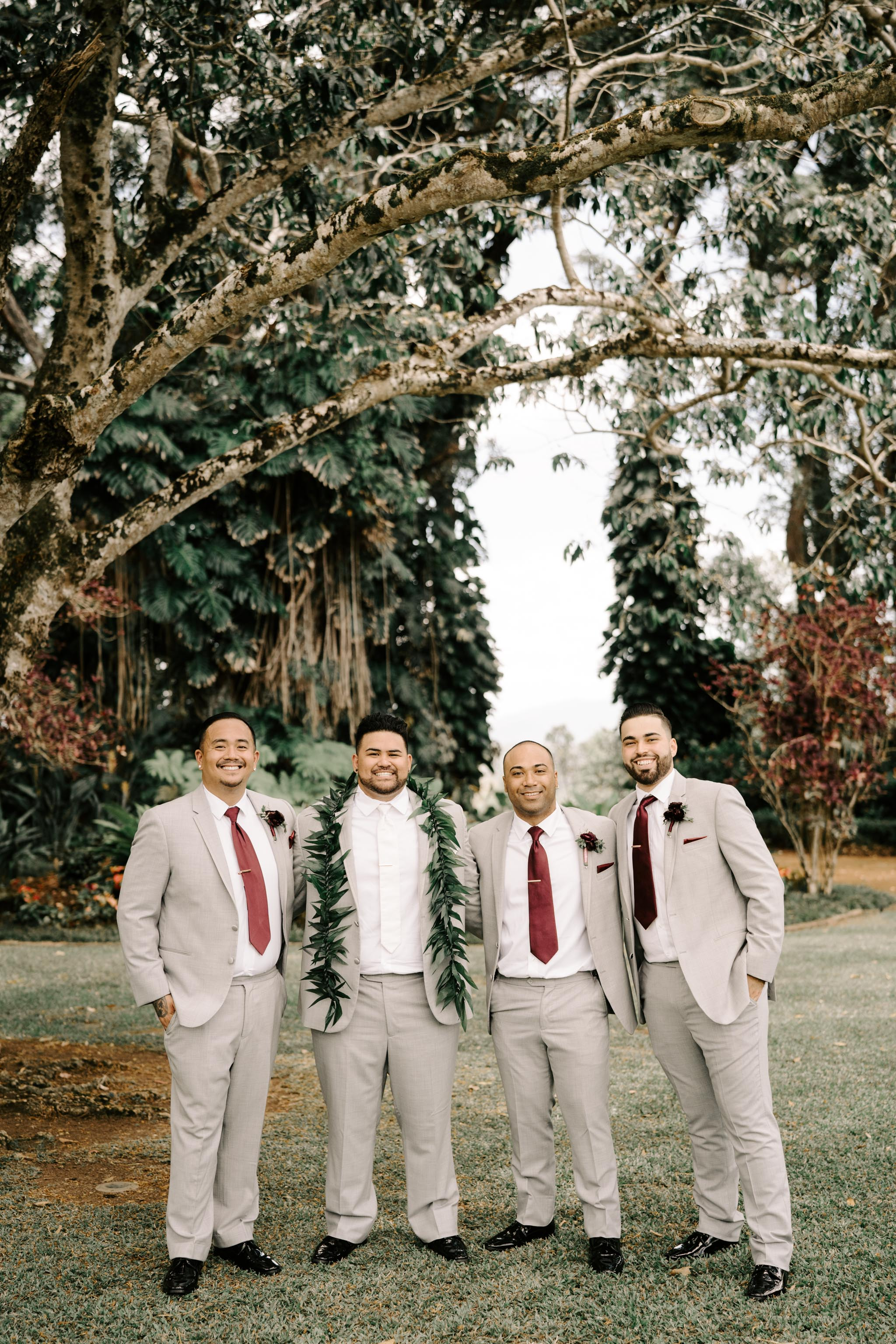 Groom and Groomsmen Photo- Sunset Ranch Hawaii Wedding By Oahu Wedding Photographer Desiree Leilani