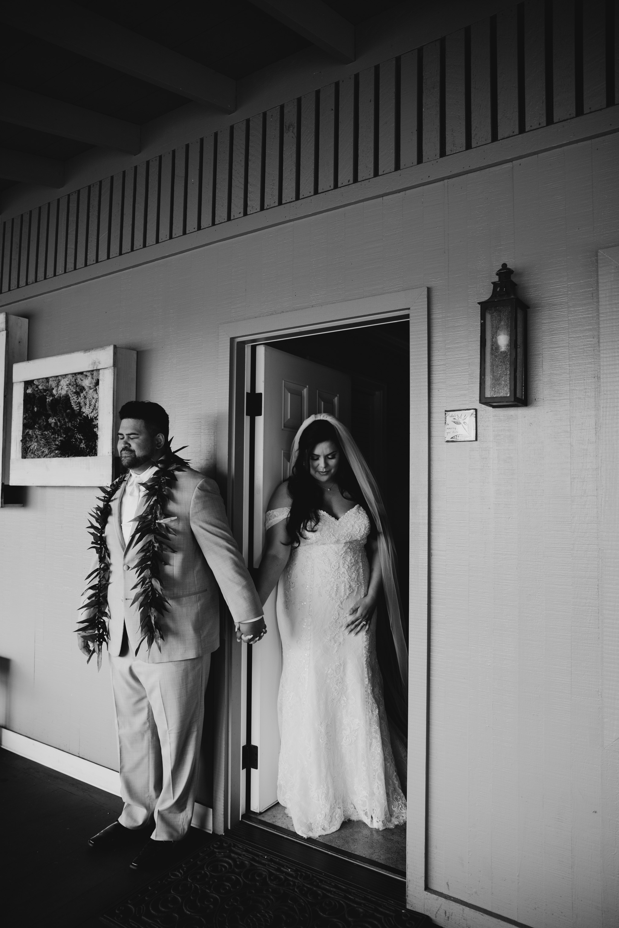 Bride and groom praying together before the wedding - Sunset Ranch Hawaii Wedding By Oahu Wedding Photographer Desiree Leilani