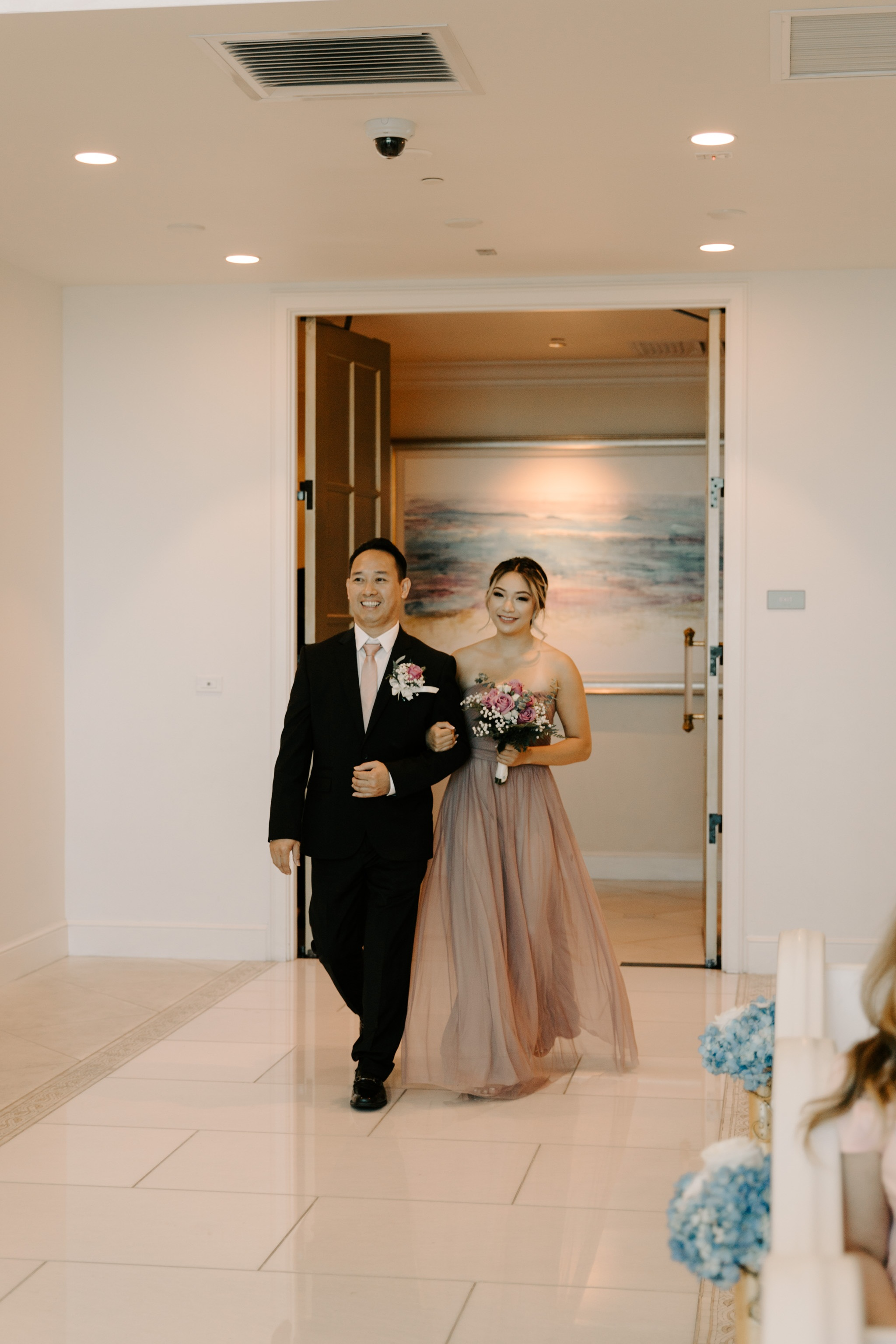 Bridesmaid and Groomsmen Walking Down the Aisle - 53 By The Sea Hawaii Wedding Naupaka Chapel By Oahu Wedding Photographer Desiree Leilani