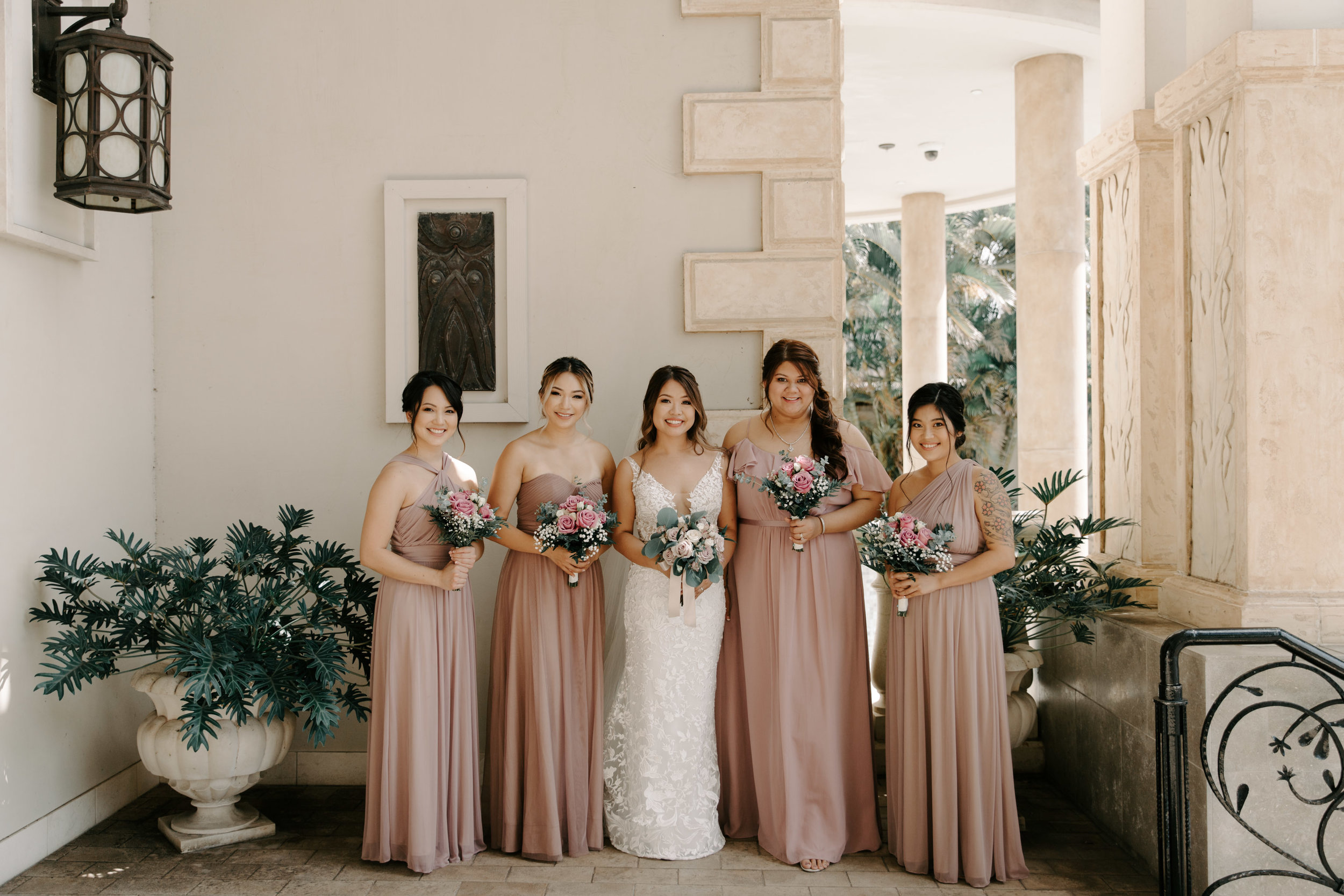 Blush Bridesmaid Dresses - 53 By The Sea Hawaii Wedding Naupaka Chapel By Oahu Wedding Photographer Desiree Leilani